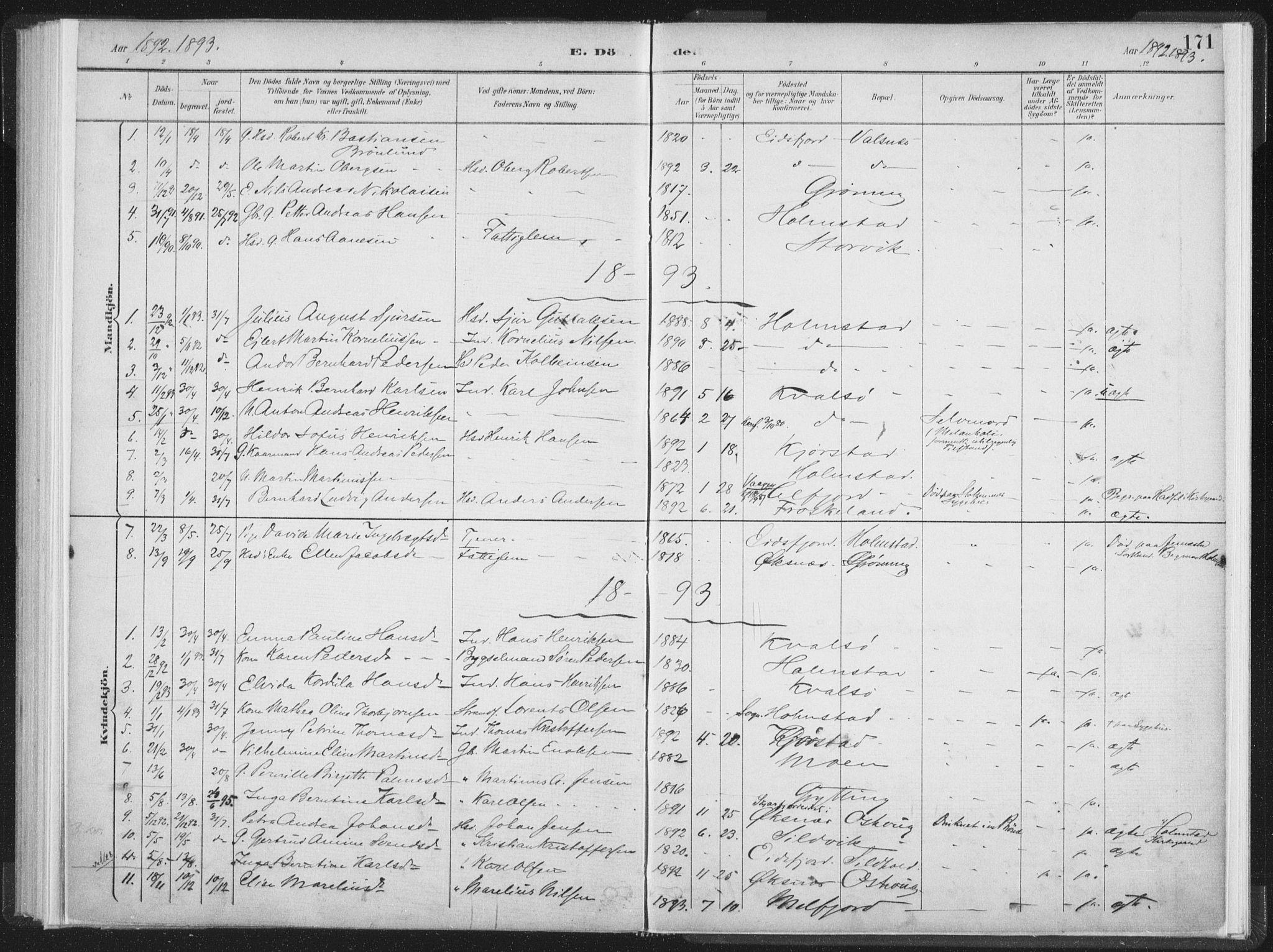 SAT, Ministerialprotokoller, klokkerbøker og fødselsregistre - Nordland, 890/L1286: Ministerialbok nr. 890A01, 1882-1902, s. 171