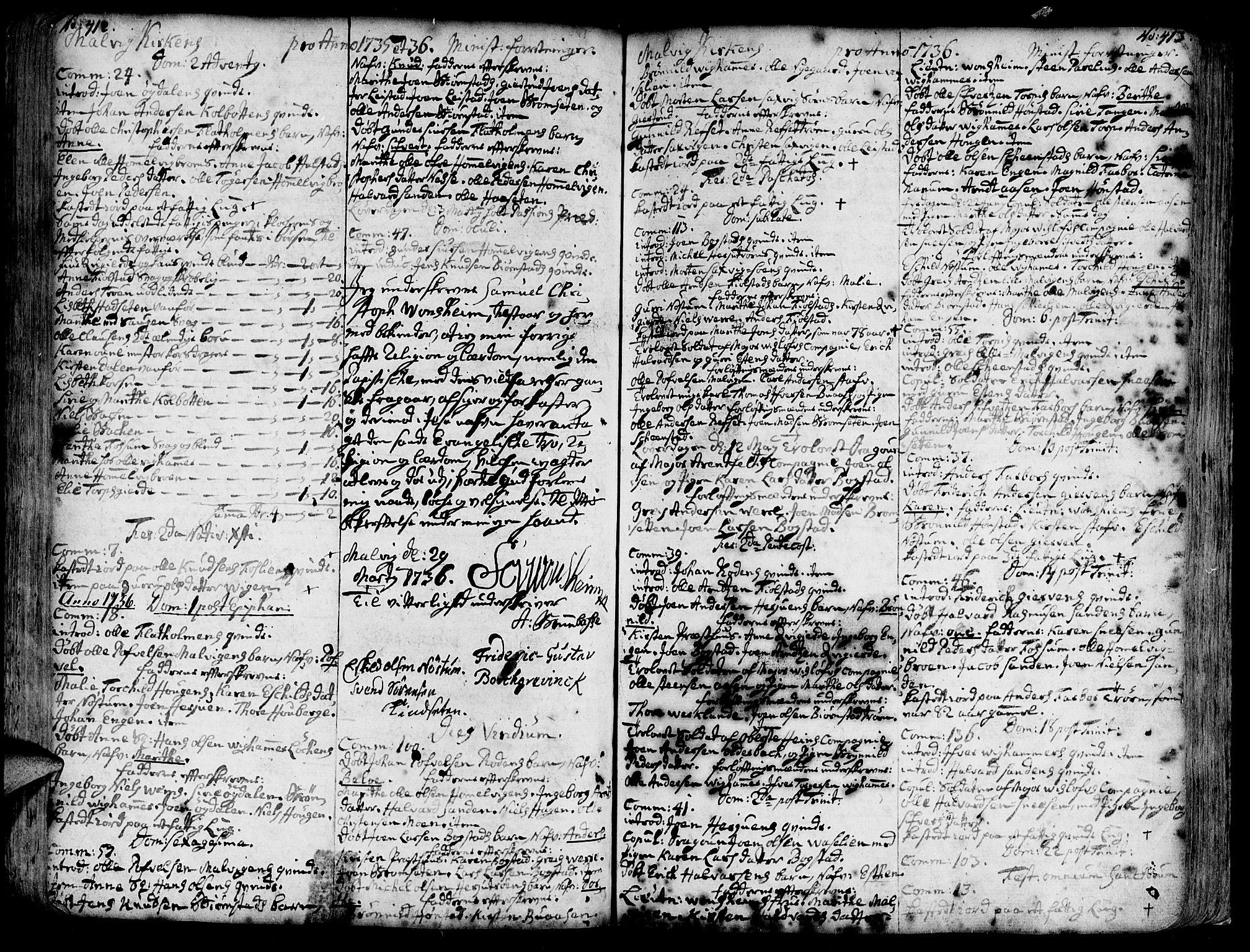 SAT, Ministerialprotokoller, klokkerbøker og fødselsregistre - Sør-Trøndelag, 606/L0277: Ministerialbok nr. 606A01 /3, 1727-1780, s. 412-413