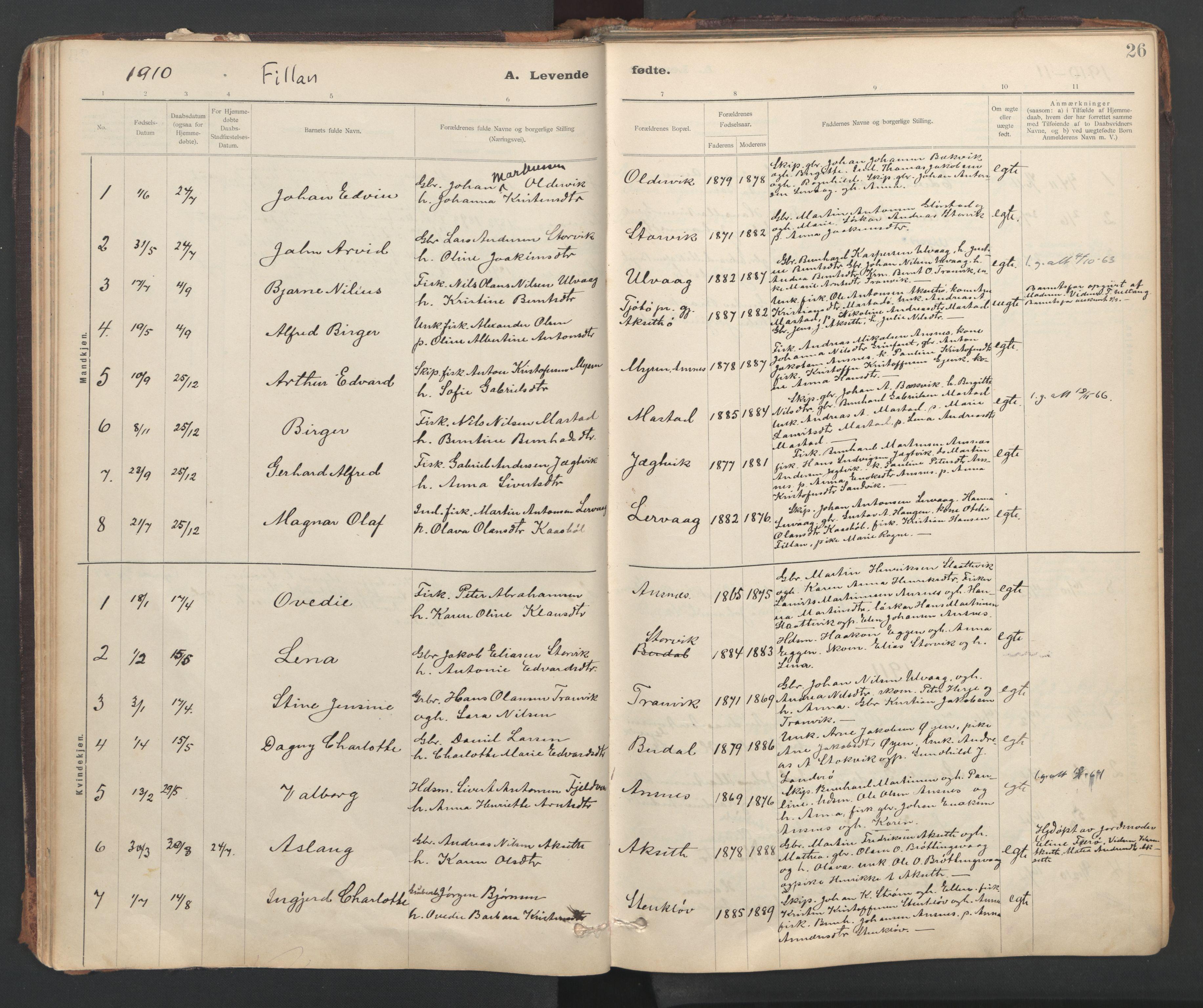 SAT, Ministerialprotokoller, klokkerbøker og fødselsregistre - Sør-Trøndelag, 637/L0559: Ministerialbok nr. 637A02, 1899-1923, s. 26