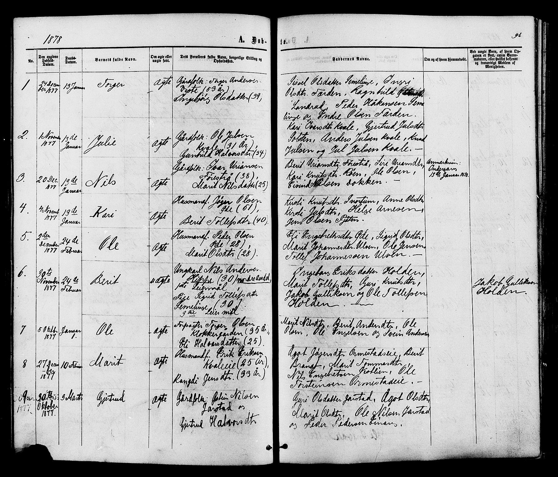 SAH, Vestre Slidre prestekontor, Ministerialbok nr. 3, 1865-1880, s. 96