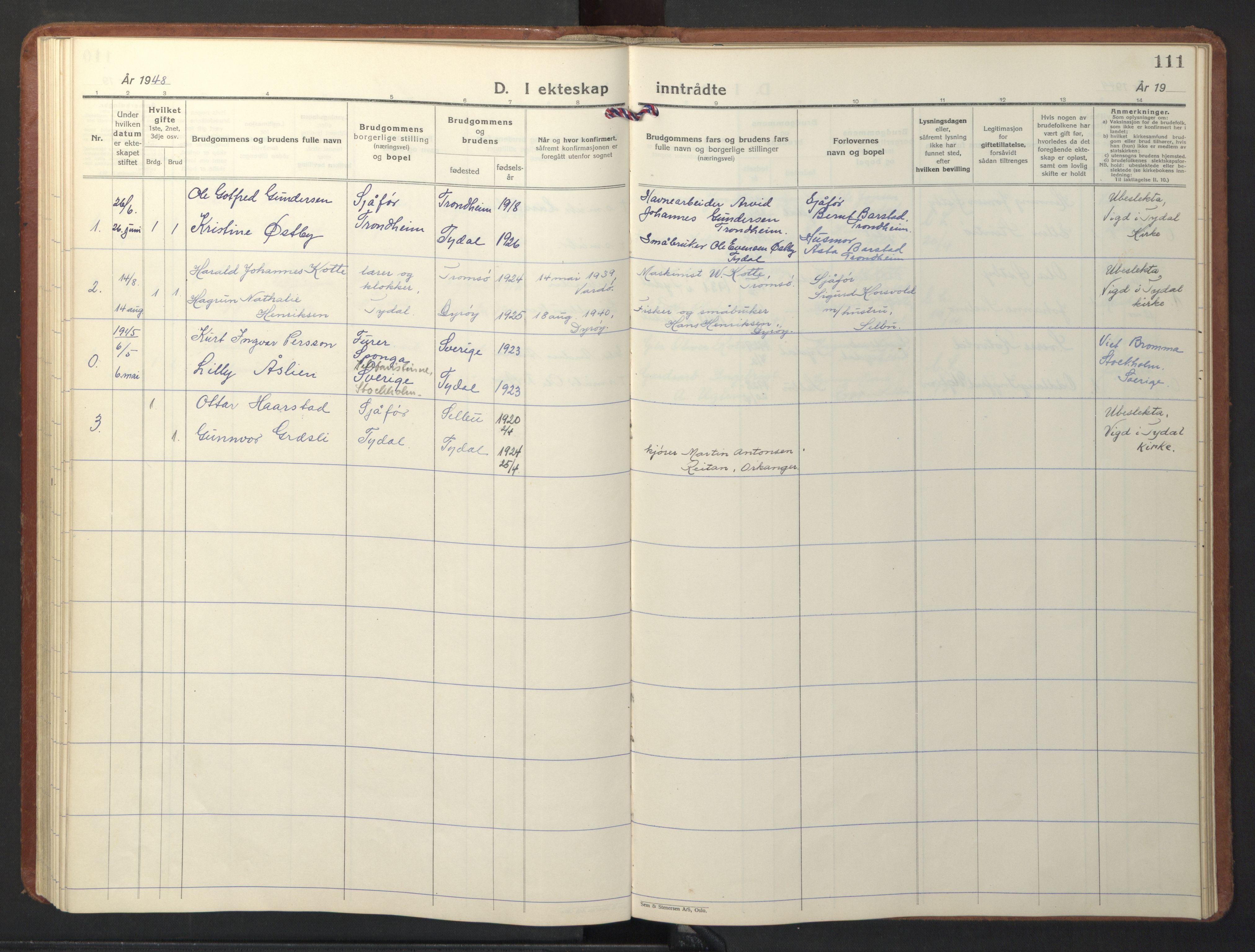 SAT, Ministerialprotokoller, klokkerbøker og fødselsregistre - Sør-Trøndelag, 698/L1169: Klokkerbok nr. 698C06, 1930-1949, s. 111