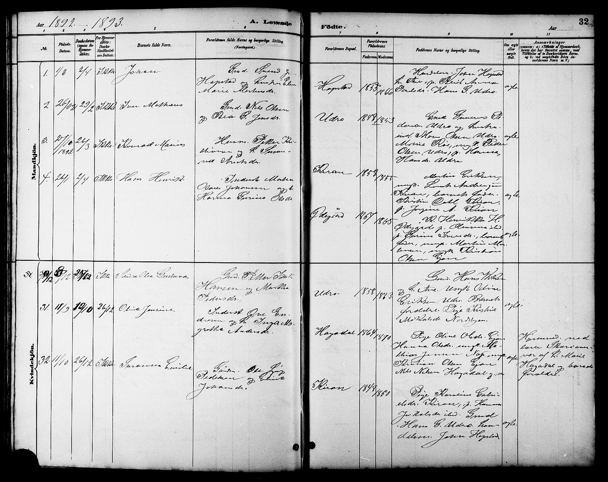 SAT, Ministerialprotokoller, klokkerbøker og fødselsregistre - Sør-Trøndelag, 657/L0716: Klokkerbok nr. 657C03, 1889-1904, s. 32