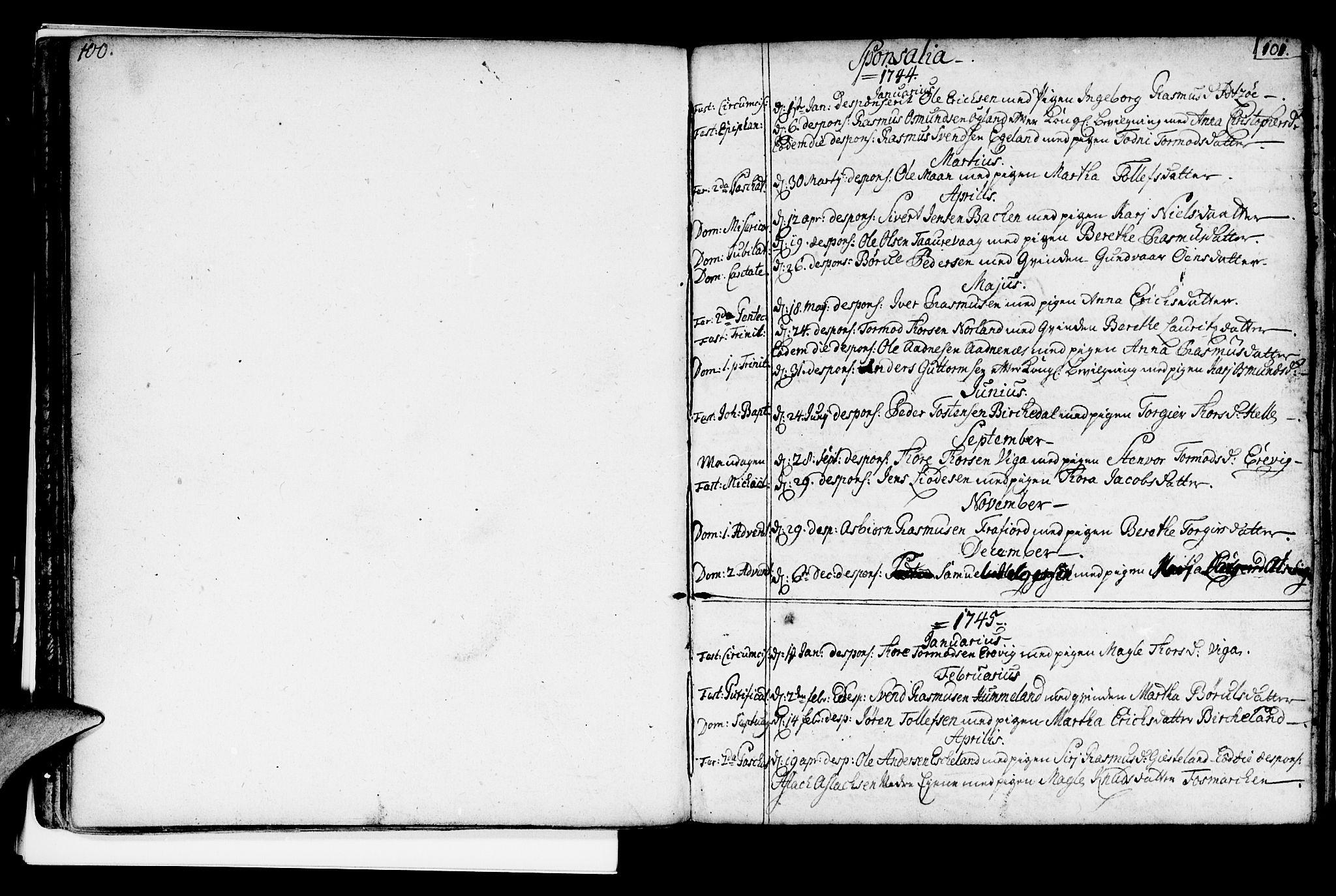 SAST, Strand sokneprestkontor, H/Ha/Haa/L0002: Ministerialbok nr. A 2, 1744-1768, s. 100-101
