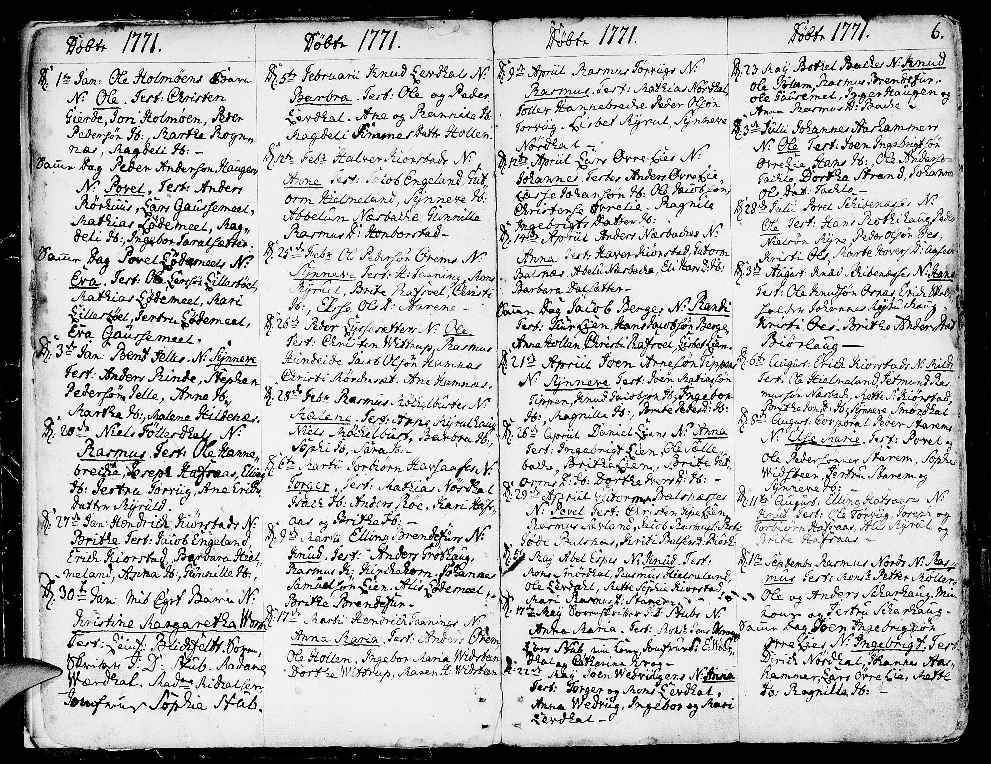 SAB, Eid Sokneprestembete, H/Haa: Ministerialbok nr. A 3, 1770-1805, s. 6