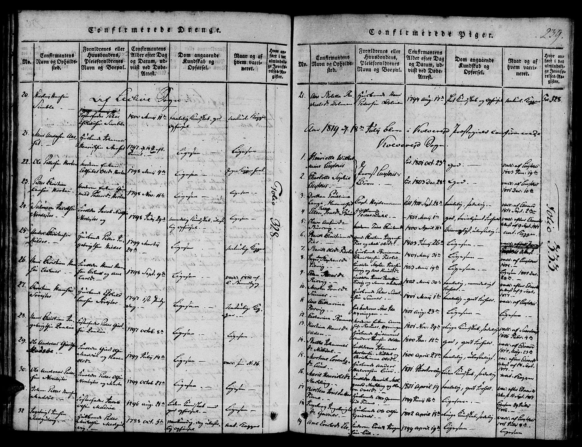 SAT, Ministerialprotokoller, klokkerbøker og fødselsregistre - Nord-Trøndelag, 780/L0636: Ministerialbok nr. 780A03 /1, 1815-1830, s. 239