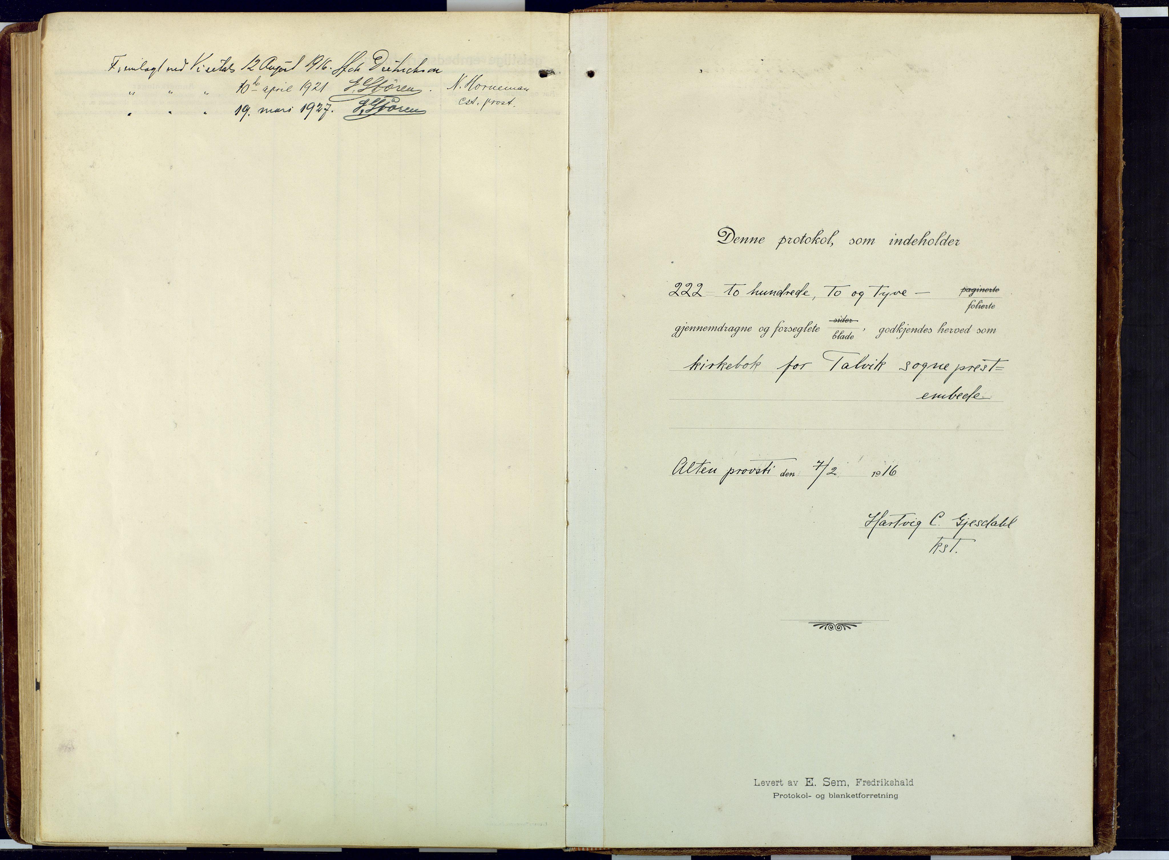 SATØ, Talvik sokneprestkontor, H/Ha/L0018kirke: Ministerialbok nr. 18, 1915-1924