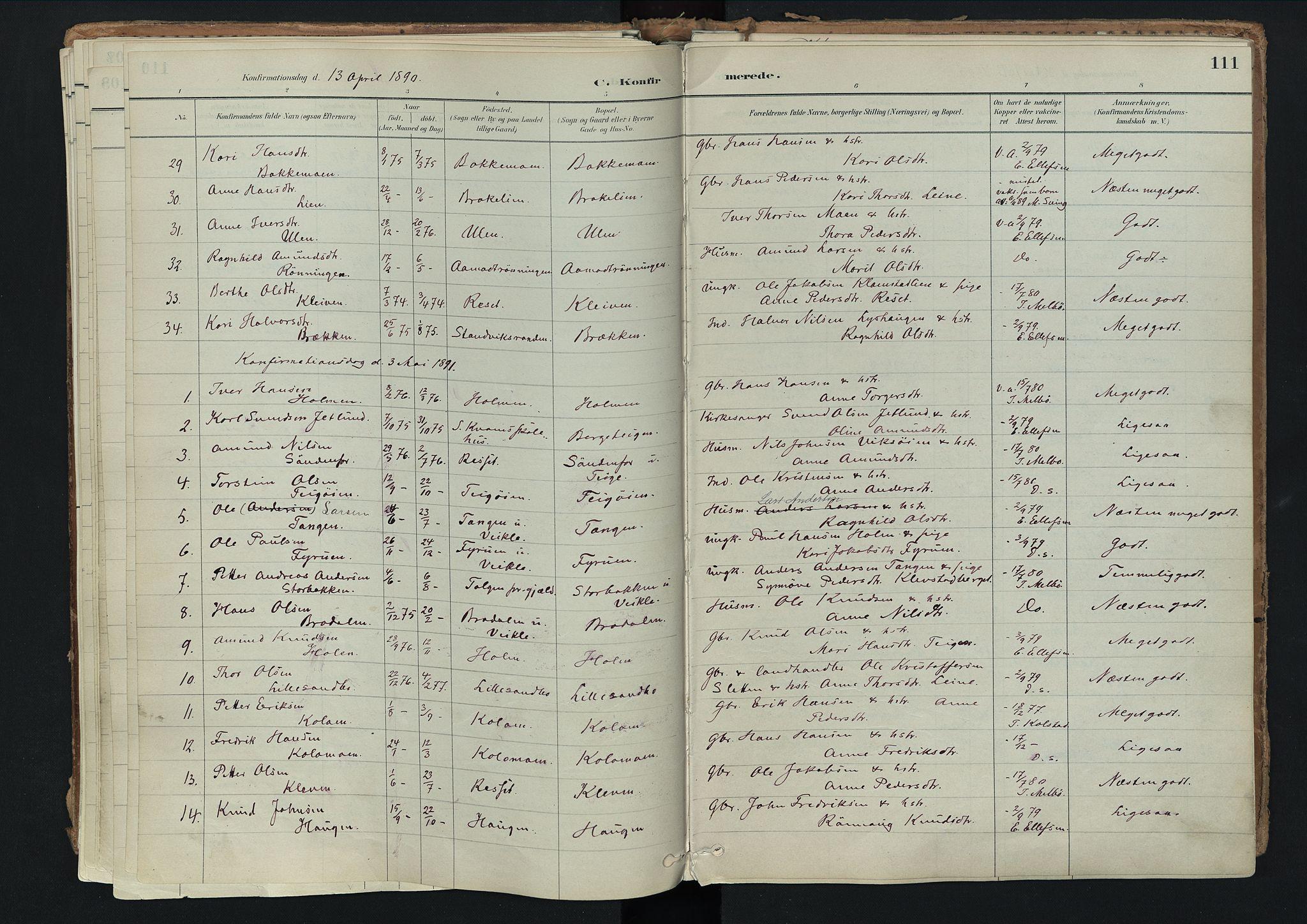 SAH, Nord-Fron prestekontor, Ministerialbok nr. 3, 1884-1914, s. 111