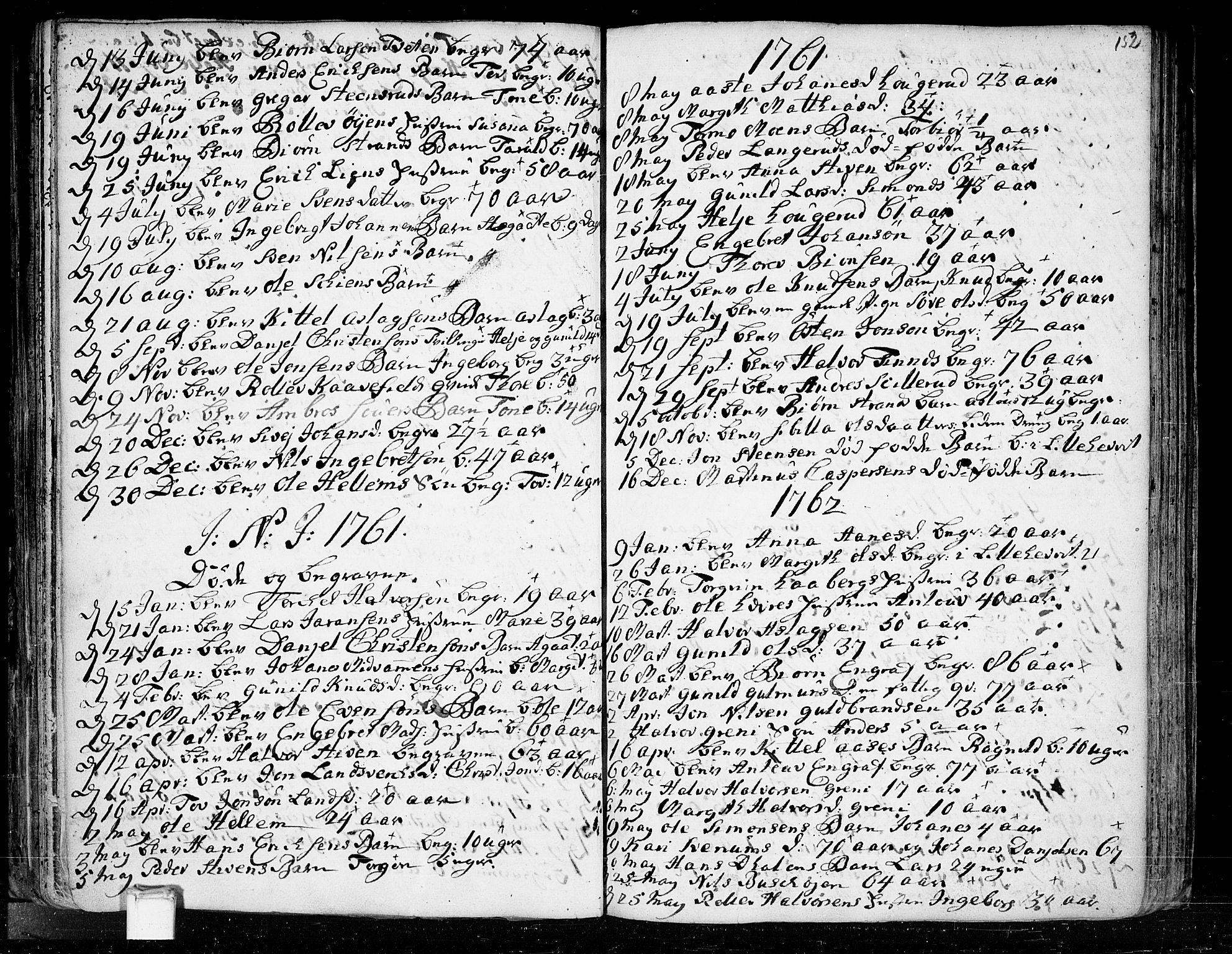 SAKO, Heddal kirkebøker, F/Fa/L0003: Ministerialbok nr. I 3, 1723-1783, s. 152