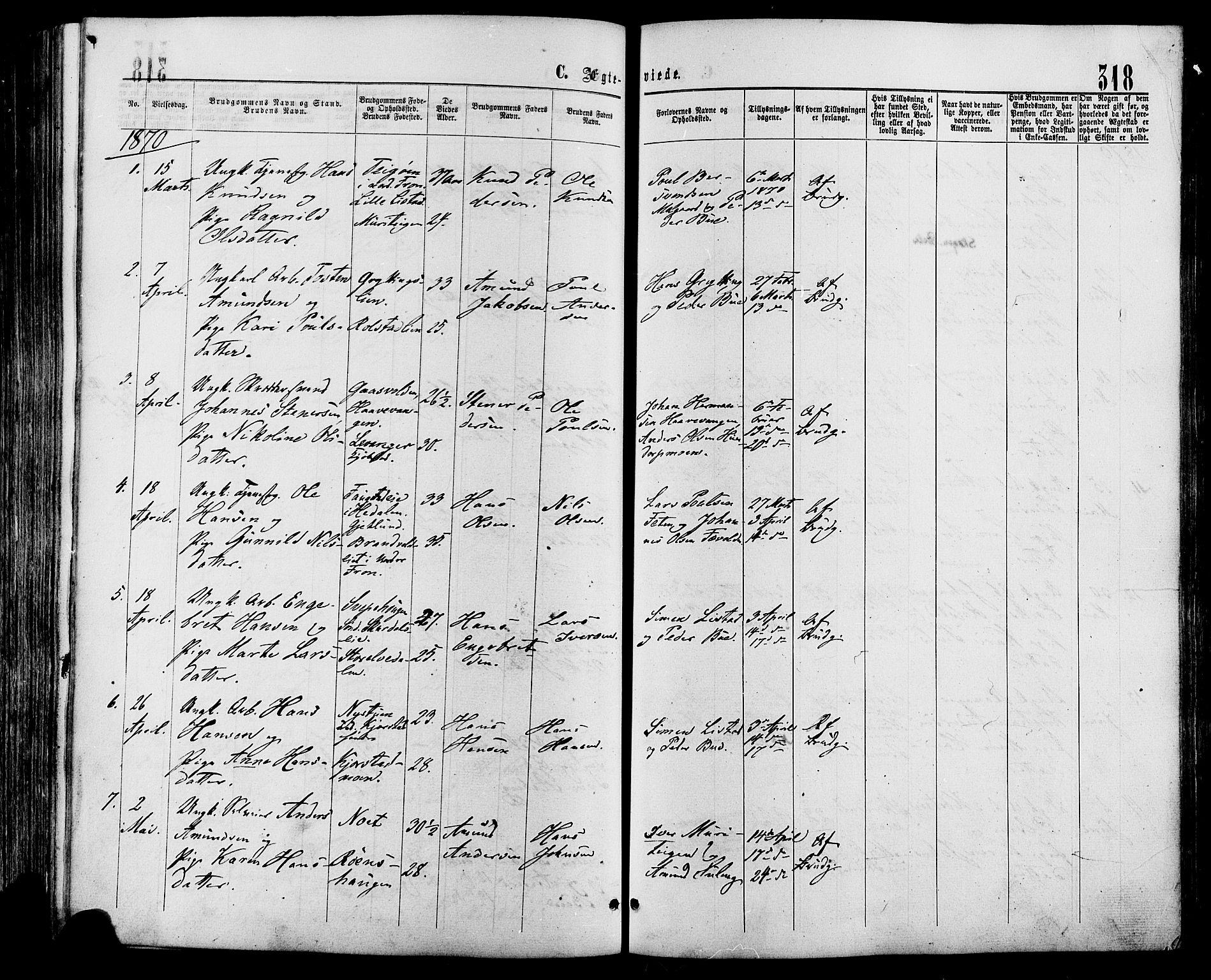 SAH, Sør-Fron prestekontor, H/Ha/Haa/L0002: Ministerialbok nr. 2, 1864-1880, s. 318