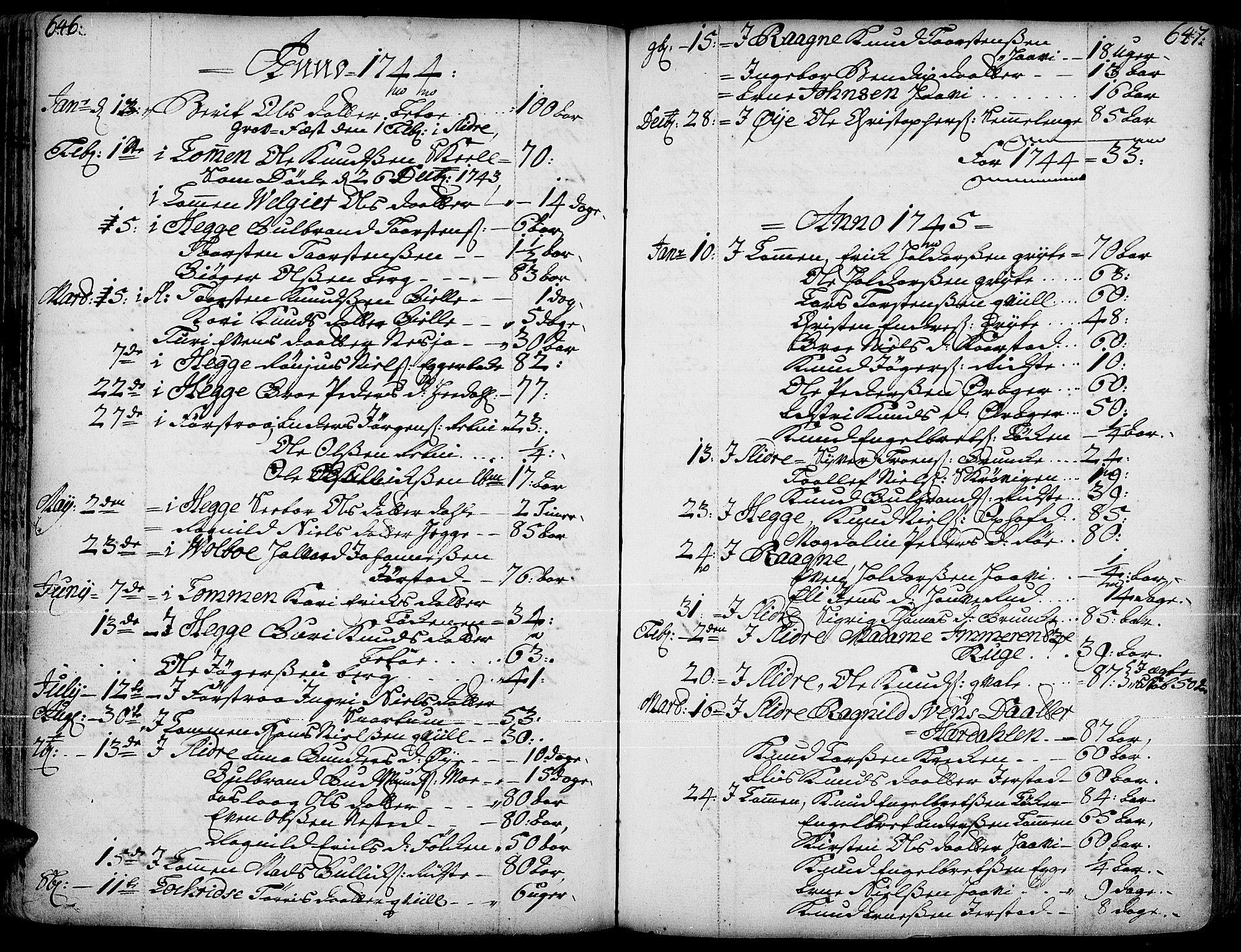 SAH, Slidre prestekontor, Ministerialbok nr. 1, 1724-1814, s. 646-647