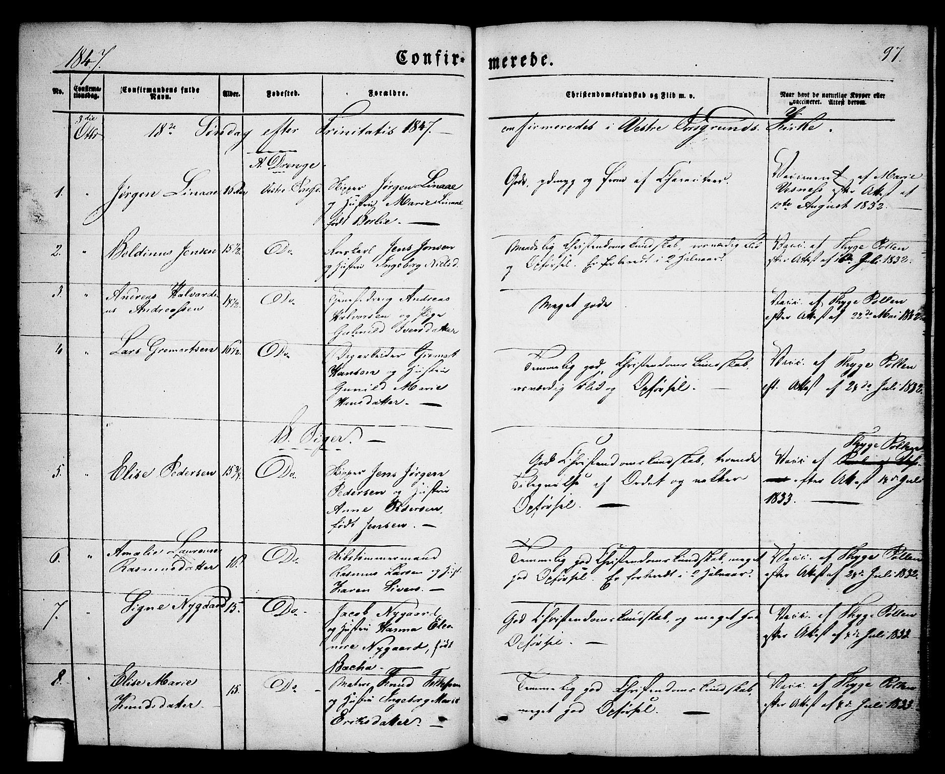 SAKO, Porsgrunn kirkebøker , G/Ga/L0002: Klokkerbok nr. I 2, 1847-1877, s. 97