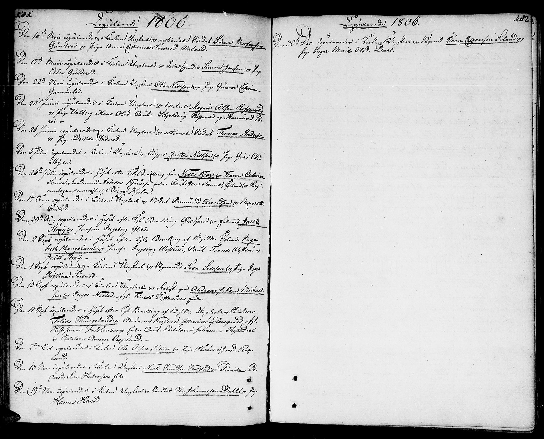 SAK, Kristiansand domprosti, F/Fa/L0005: Ministerialbok nr. A 5, 1776-1818, s. 181-182