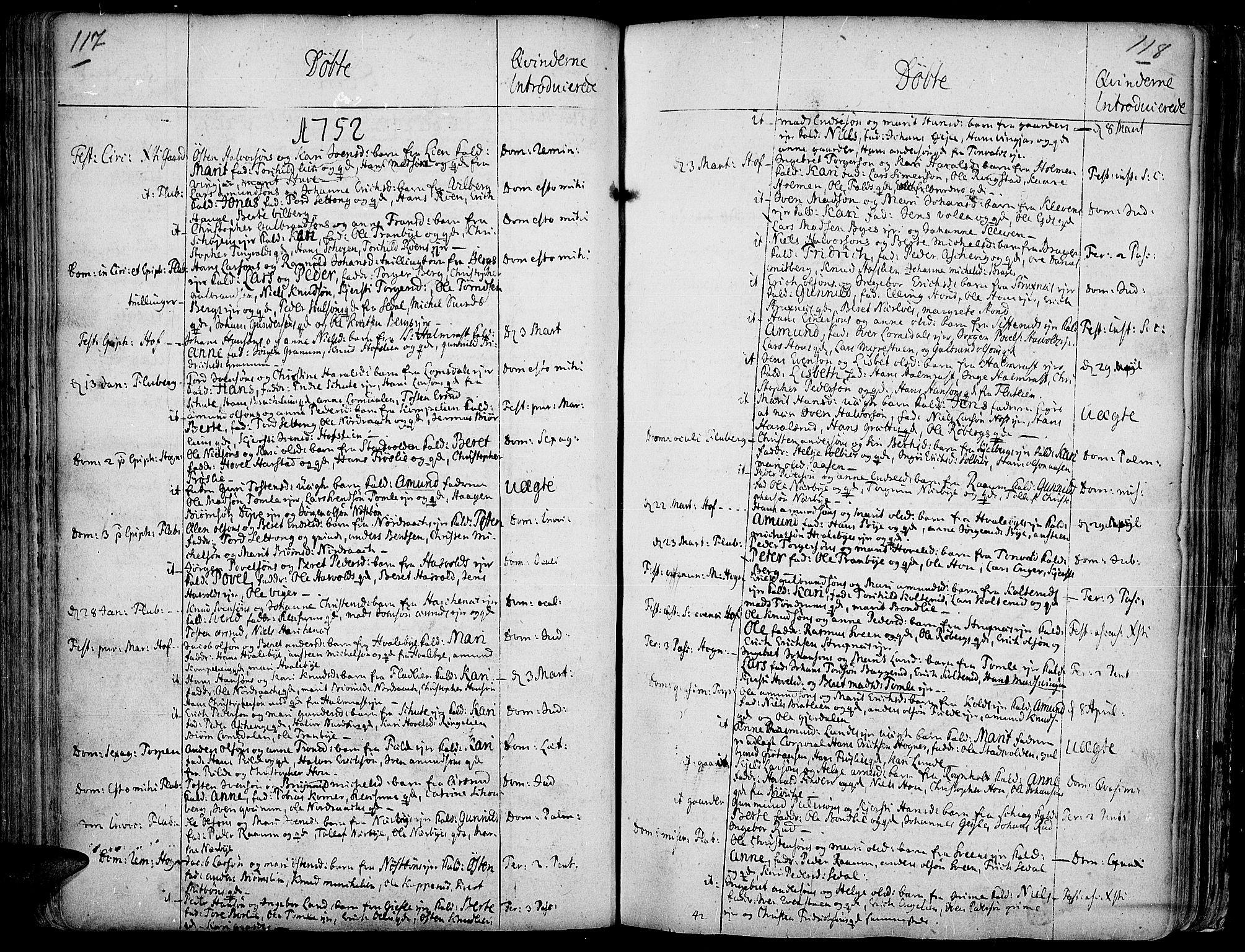 SAH, Land prestekontor, Ministerialbok nr. 2, 1733-1764, s. 117-118