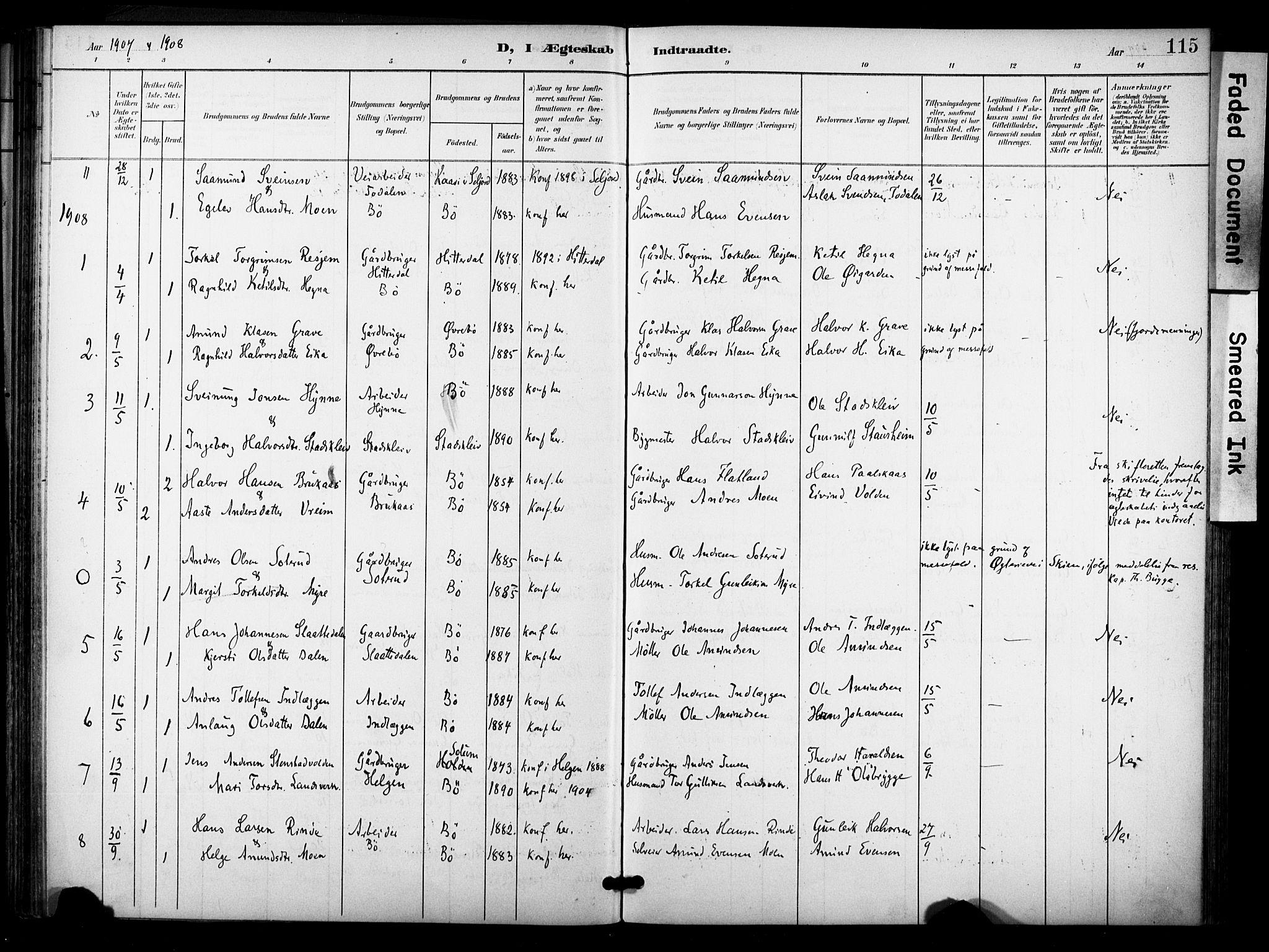 SAKO, Bø kirkebøker, F/Fa/L0012: Ministerialbok nr. 12, 1900-1908, s. 115