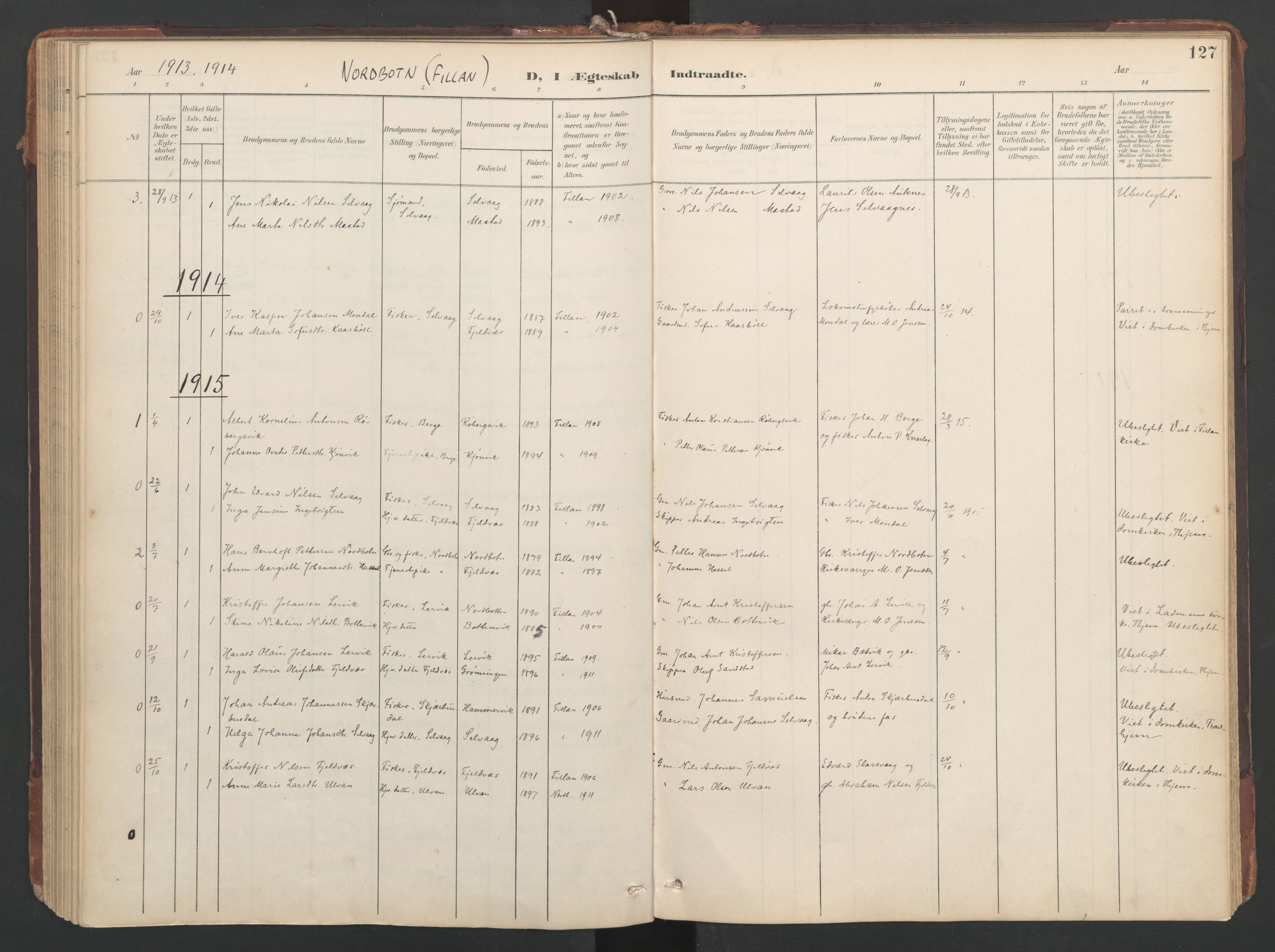 SAT, Ministerialprotokoller, klokkerbøker og fødselsregistre - Sør-Trøndelag, 638/L0568: Ministerialbok nr. 638A01, 1901-1916, s. 127