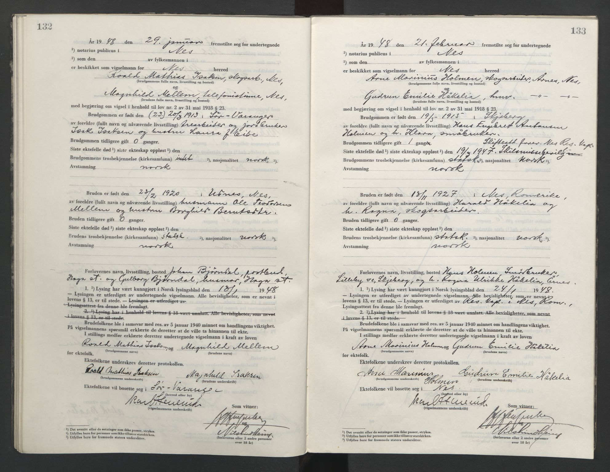 SAO, Nes tingrett, L/Lc/Lca/L0003: Vigselbok, 1944-1953, s. 132-133