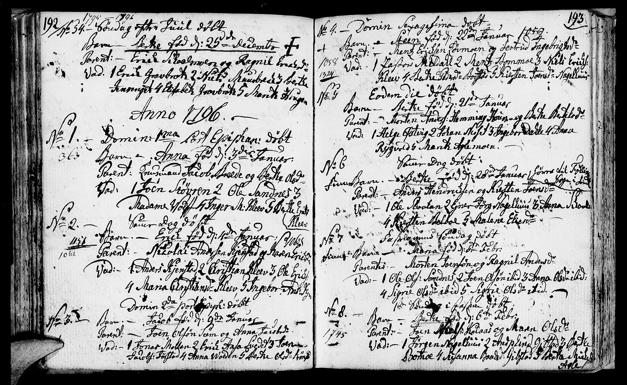 SAT, Ministerialprotokoller, klokkerbøker og fødselsregistre - Nord-Trøndelag, 749/L0468: Ministerialbok nr. 749A02, 1787-1817, s. 192-193