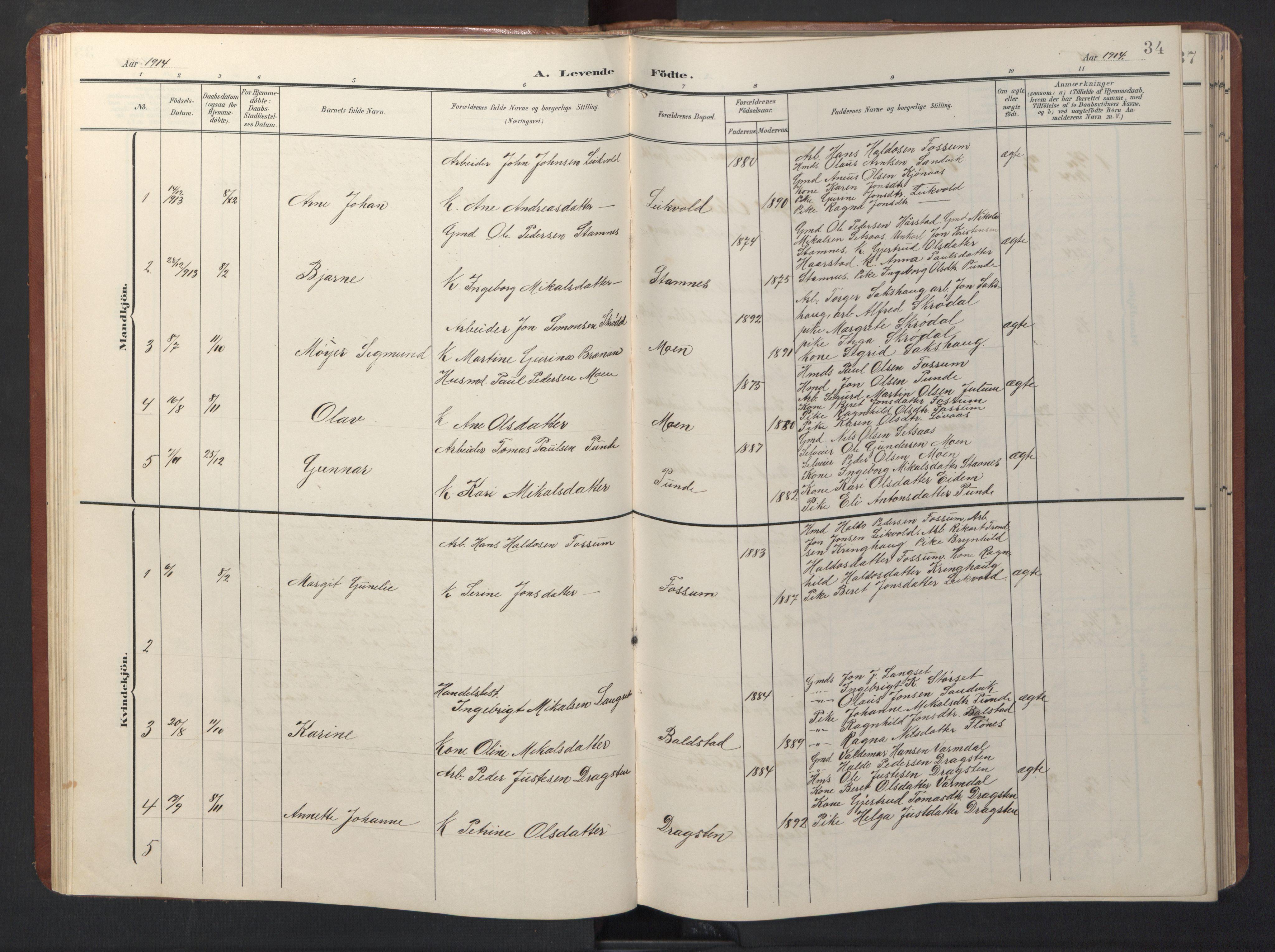 SAT, Ministerialprotokoller, klokkerbøker og fødselsregistre - Sør-Trøndelag, 696/L1161: Klokkerbok nr. 696C01, 1902-1950, s. 34