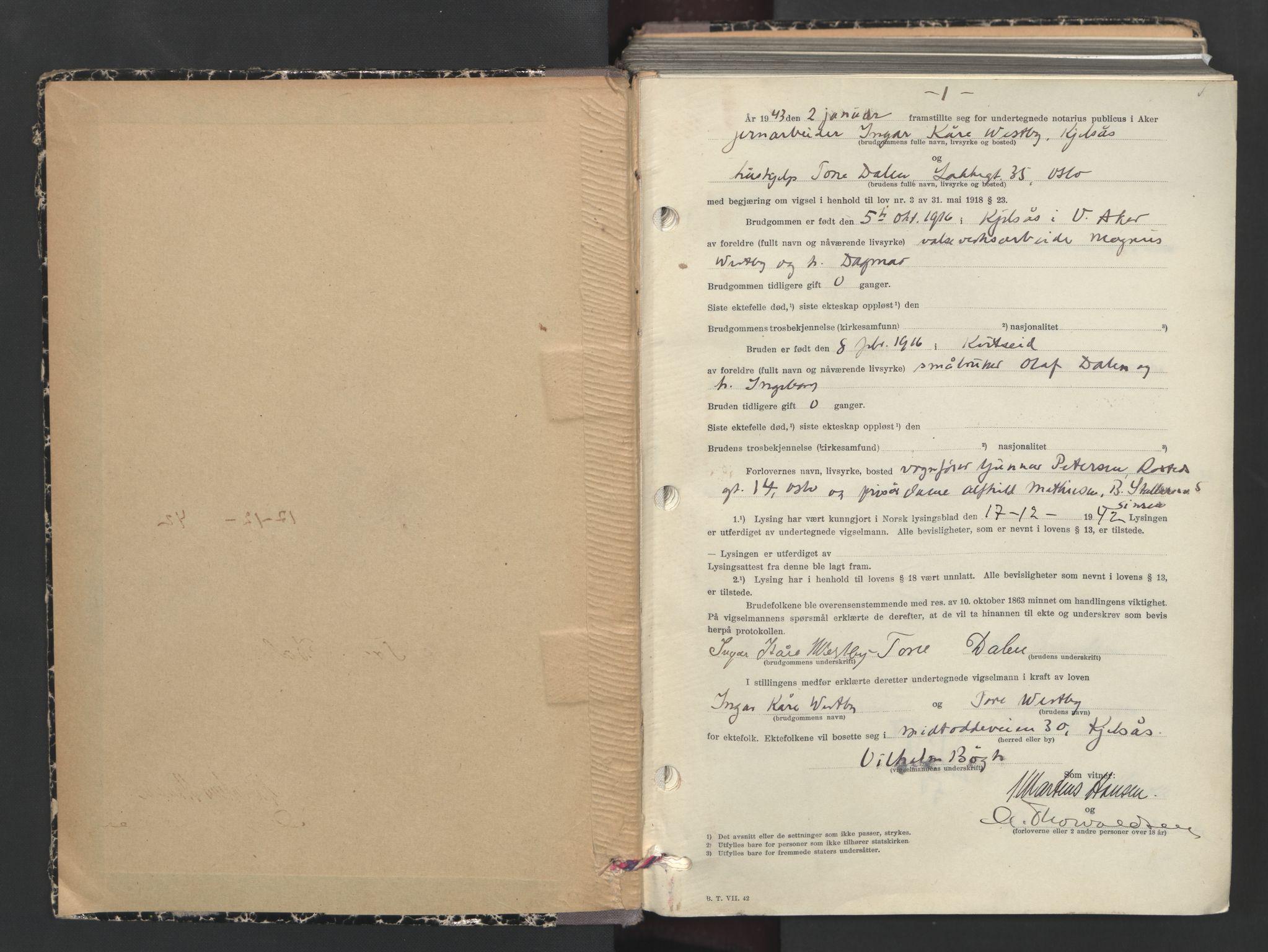 SAO, Aker sorenskriveri, L/Lc/Lcb/L0019: Vigselprotokoll, 1943, s. 1