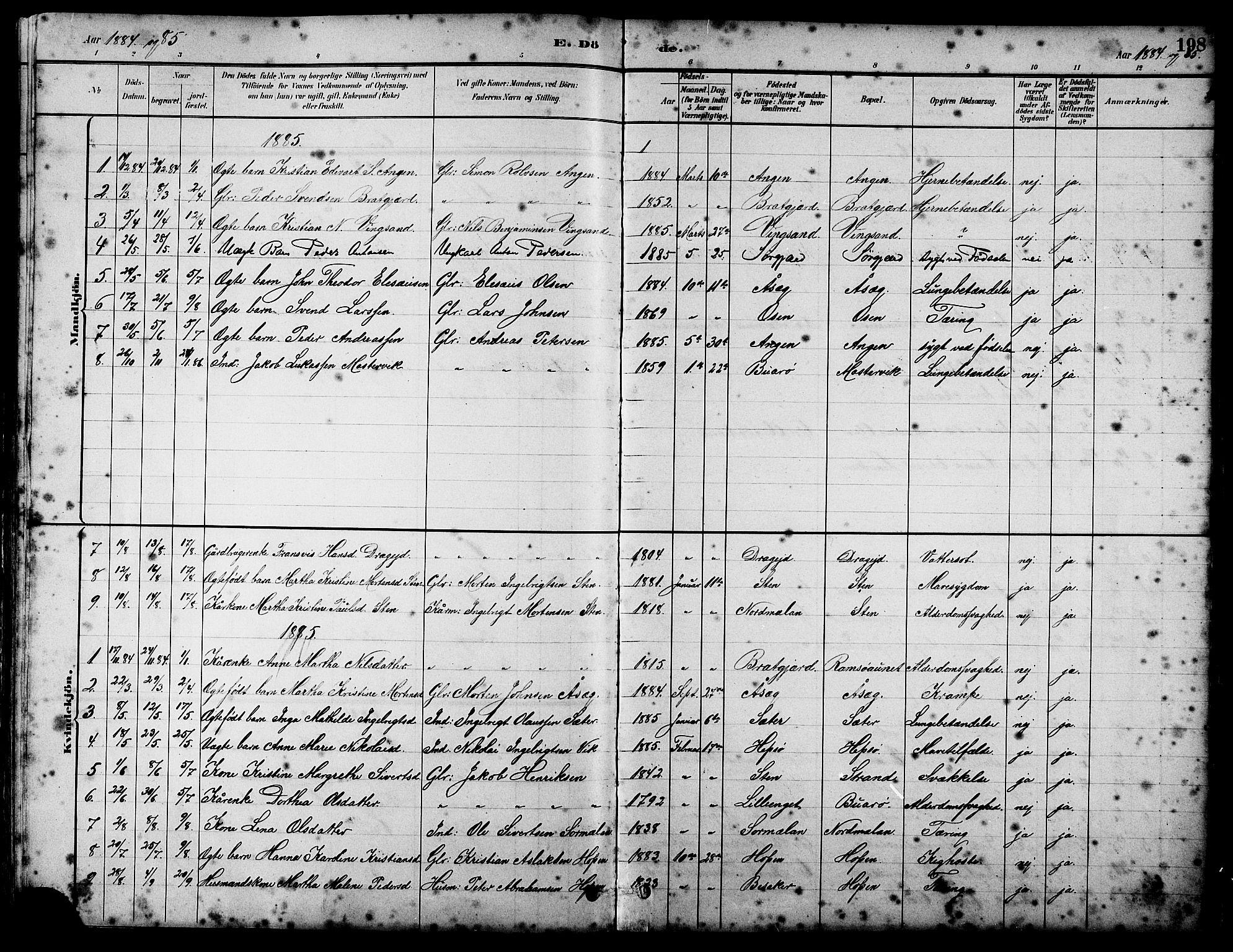 SAT, Ministerialprotokoller, klokkerbøker og fødselsregistre - Sør-Trøndelag, 658/L0726: Klokkerbok nr. 658C02, 1883-1908, s. 198
