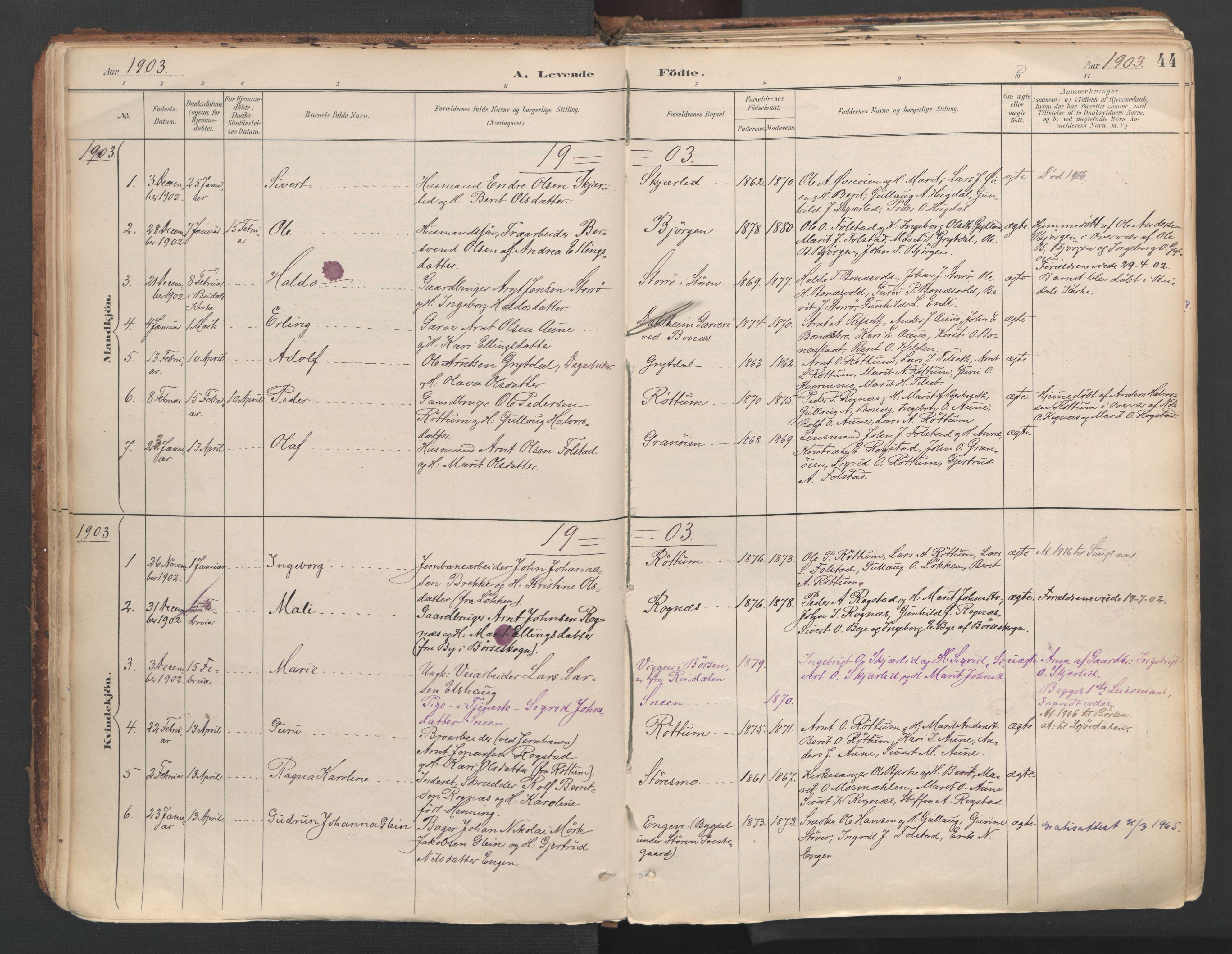 SAT, Ministerialprotokoller, klokkerbøker og fødselsregistre - Sør-Trøndelag, 687/L1004: Ministerialbok nr. 687A10, 1891-1923, s. 44