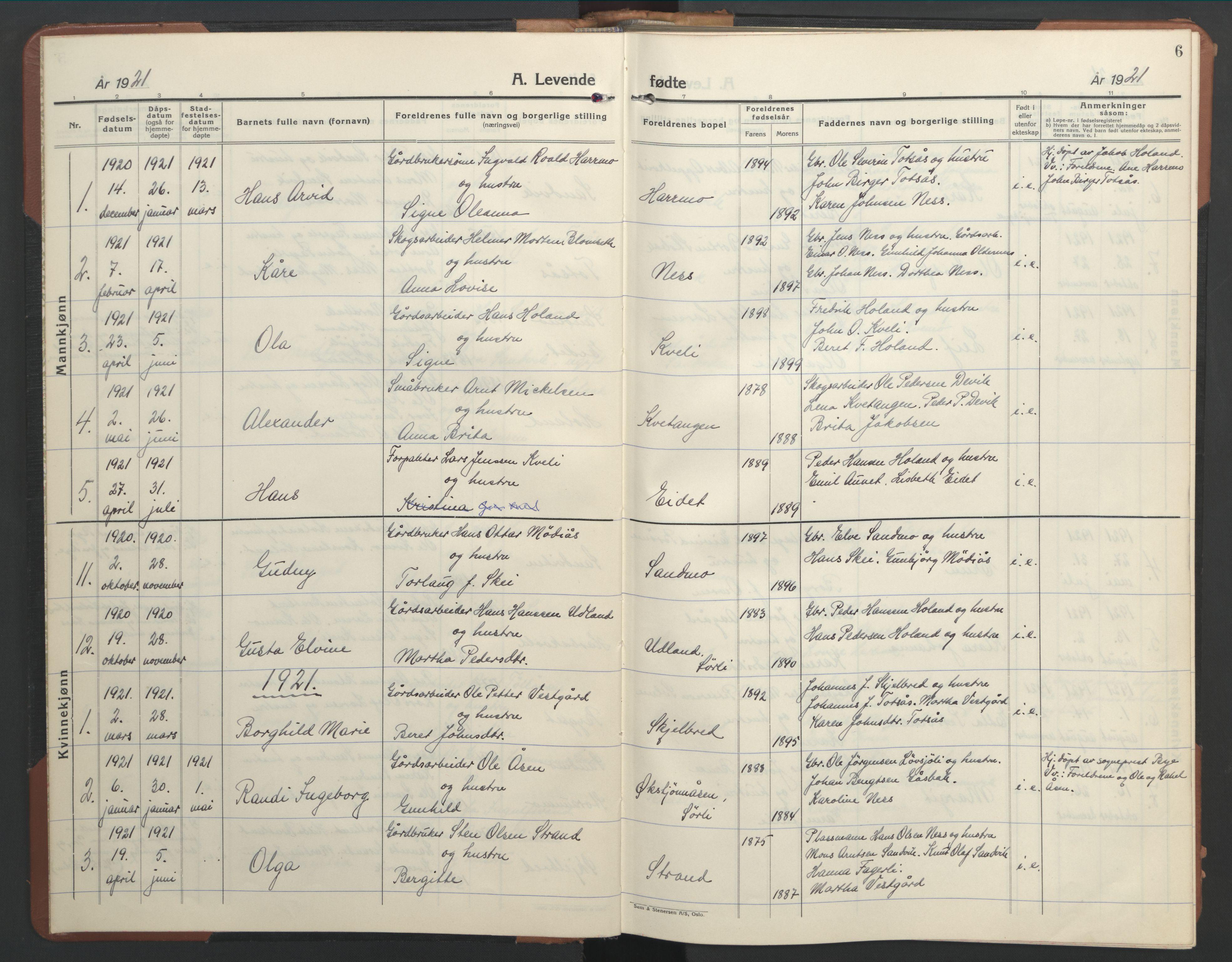 SAT, Ministerialprotokoller, klokkerbøker og fødselsregistre - Nord-Trøndelag, 755/L0500: Klokkerbok nr. 755C01, 1920-1962, s. 6