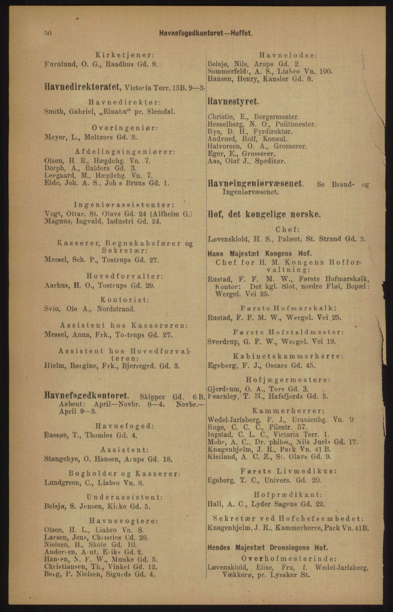 RA, Kristiania adressebok (publikasjon)*, 1905, s. 50