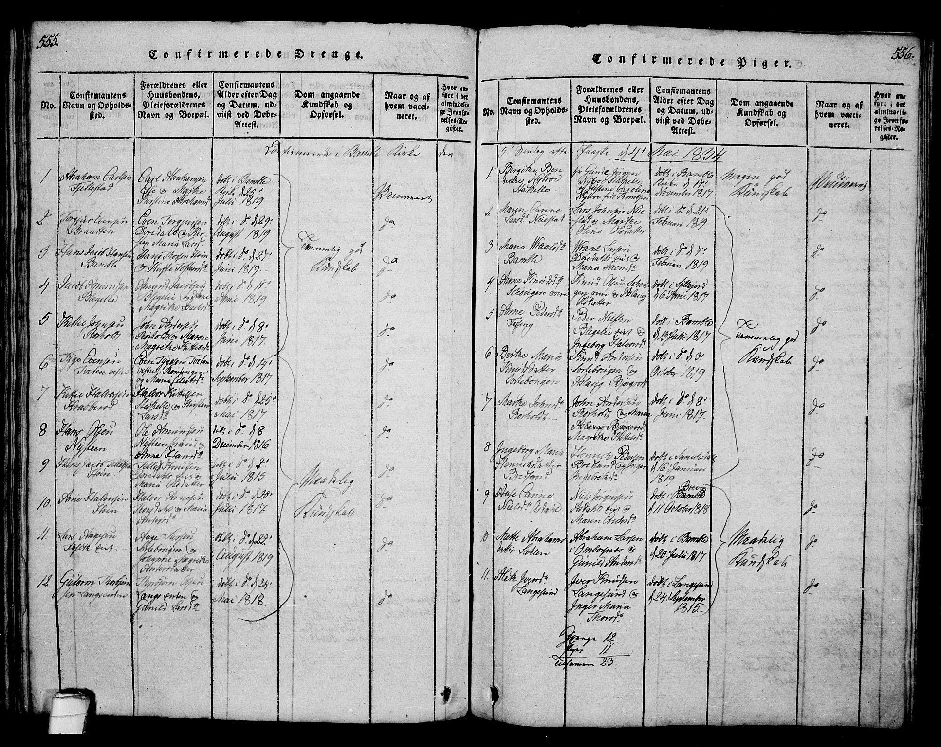SAKO, Bamble kirkebøker, G/Ga/L0005: Klokkerbok nr. I 5, 1814-1855, s. 555-556