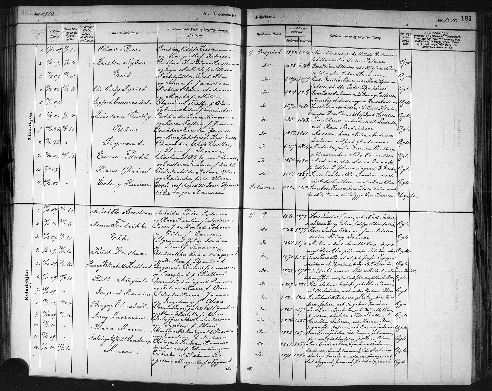 SAKO, Porsgrunn kirkebøker , G/Gb/L0005: Klokkerbok nr. II 5, 1883-1915, s. 181