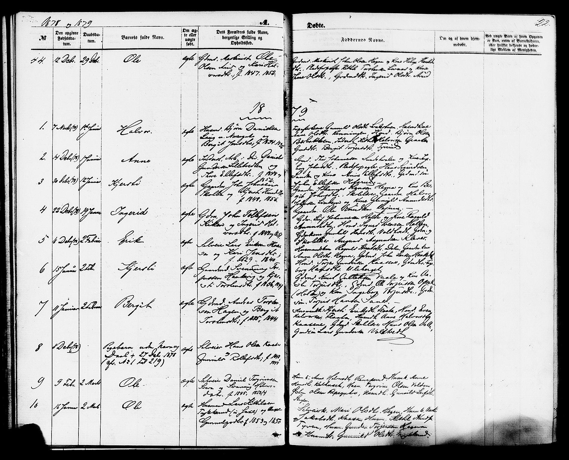 SAKO, Sauherad kirkebøker, F/Fa/L0008: Ministerialbok nr. I 8, 1873-1886, s. 22