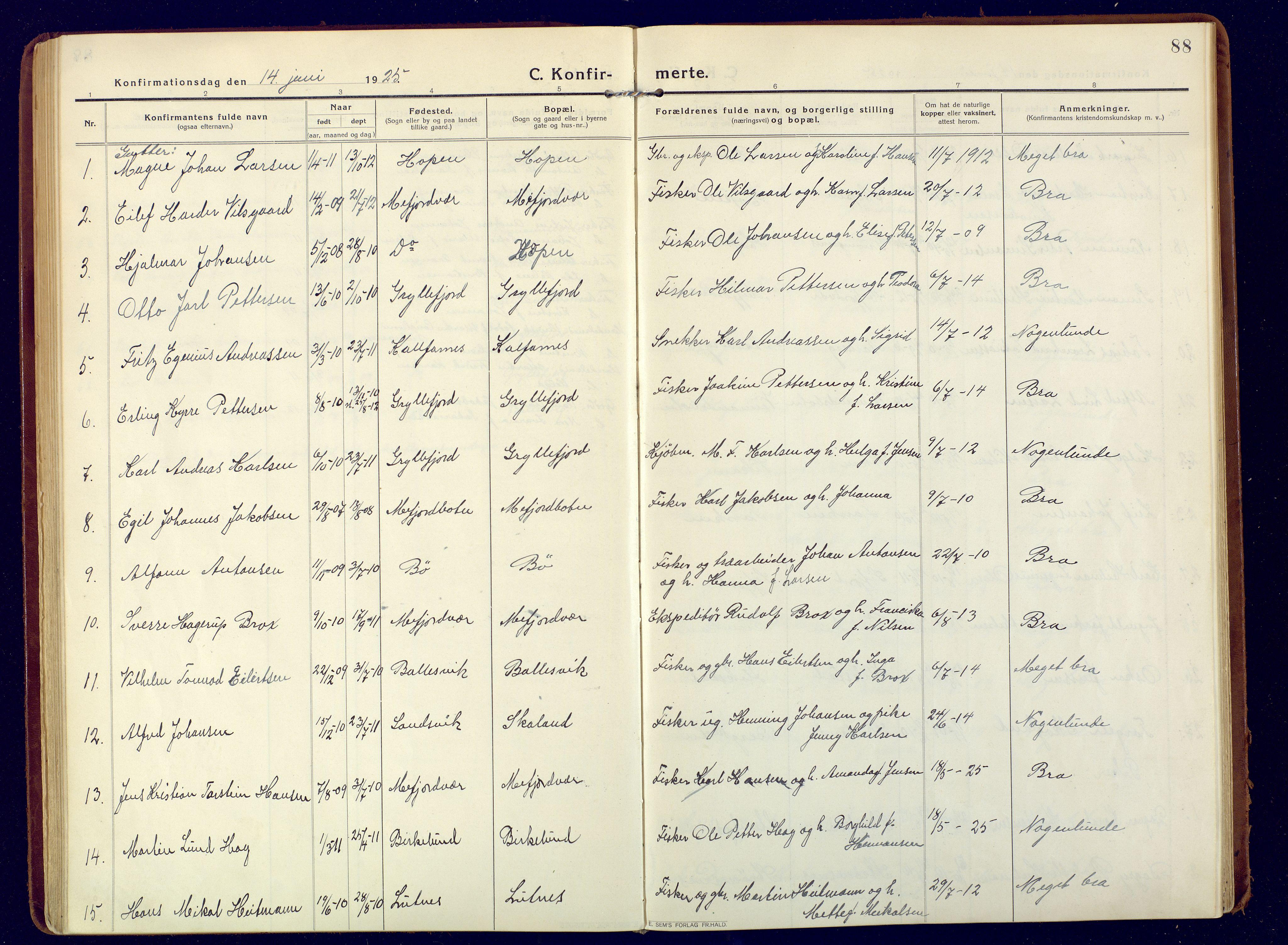 SATØ, Mefjord/Berg sokneprestkontor, G/Ga/Gaa: Ministerialbok nr. 9, 1916-1928, s. 88