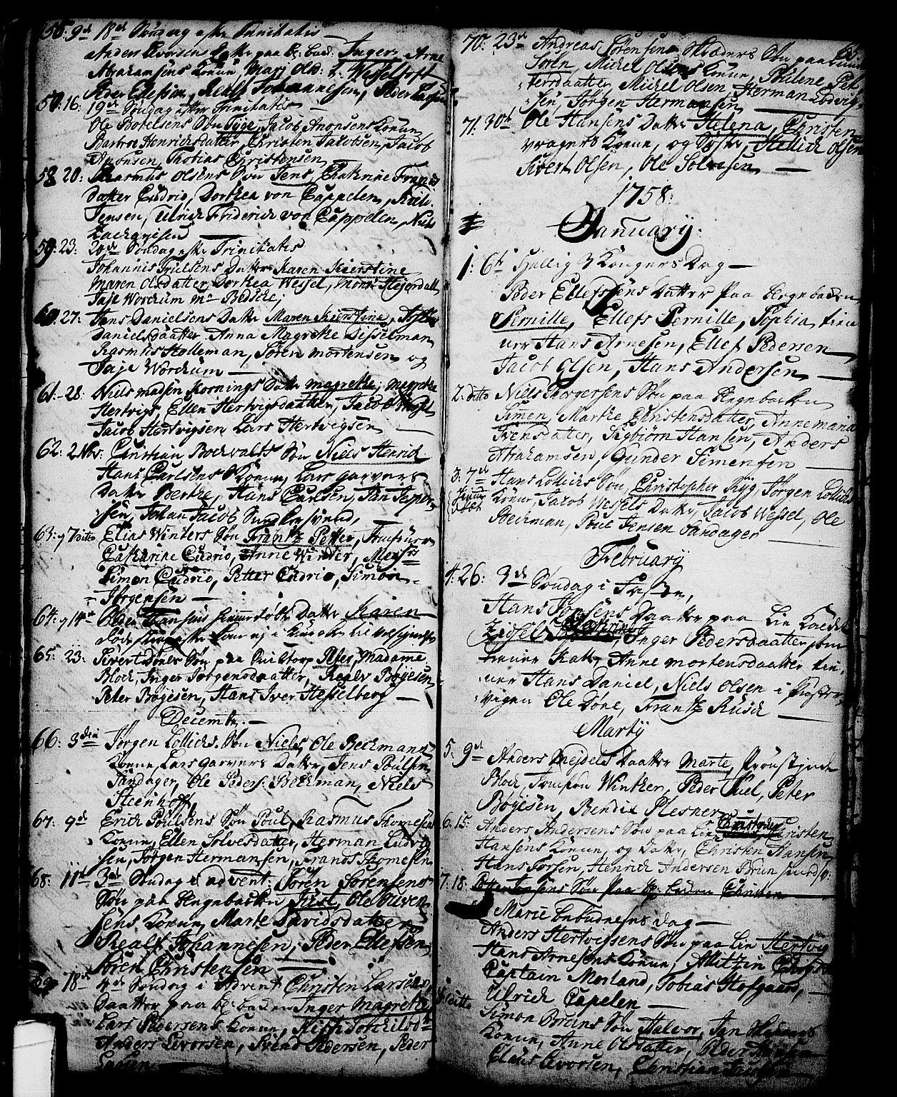 SAKO, Skien kirkebøker, G/Ga/L0001: Klokkerbok nr. 1, 1756-1791, s. 65