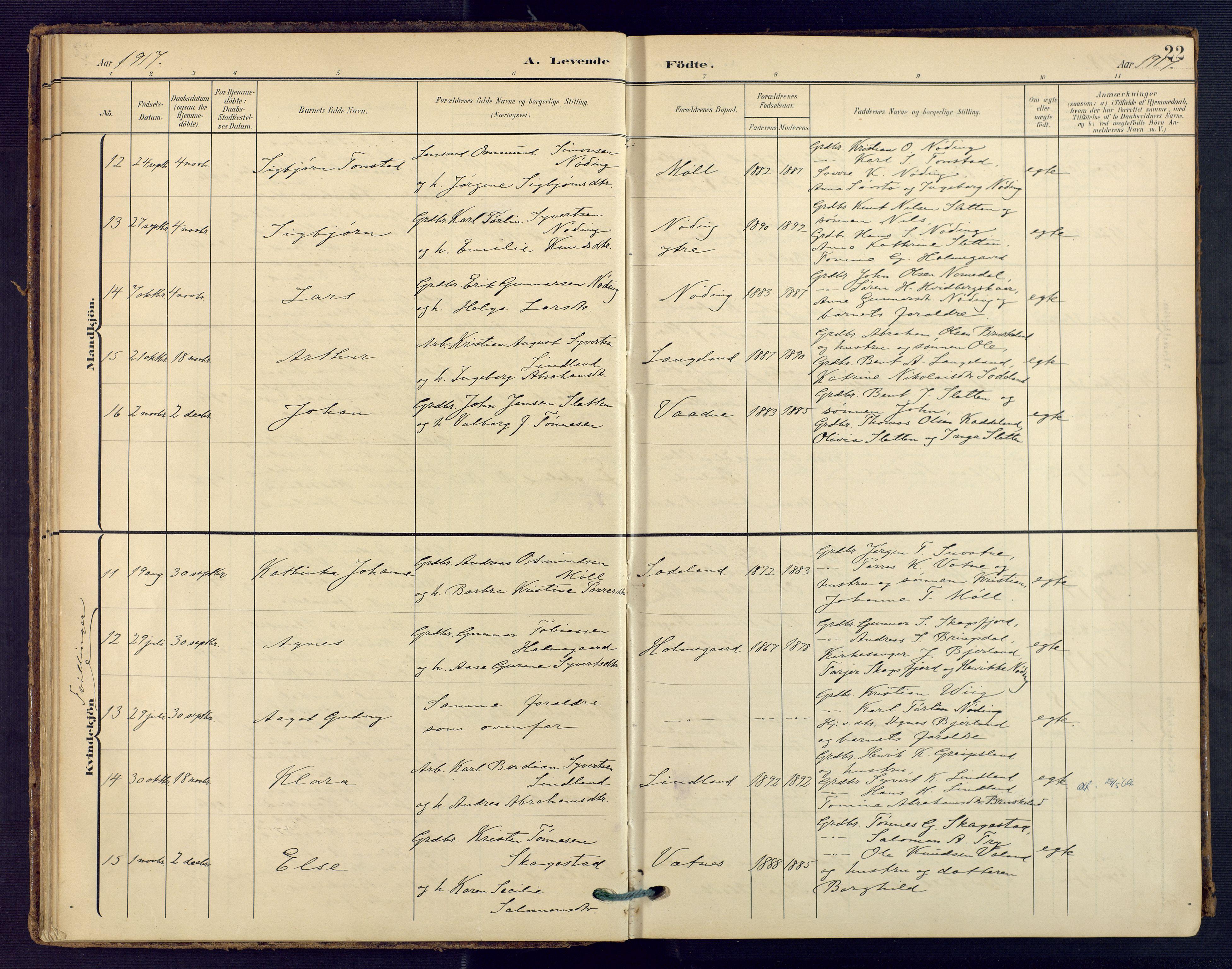 SAK, Holum sokneprestkontor, F/Fa/Faa/L0008: Ministerialbok nr. A 8, 1908-1929, s. 22