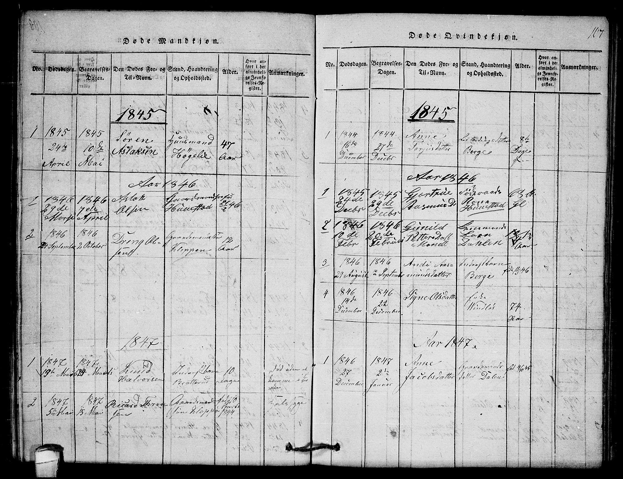 SAKO, Lårdal kirkebøker, G/Gb/L0001: Klokkerbok nr. II 1, 1815-1865, s. 107