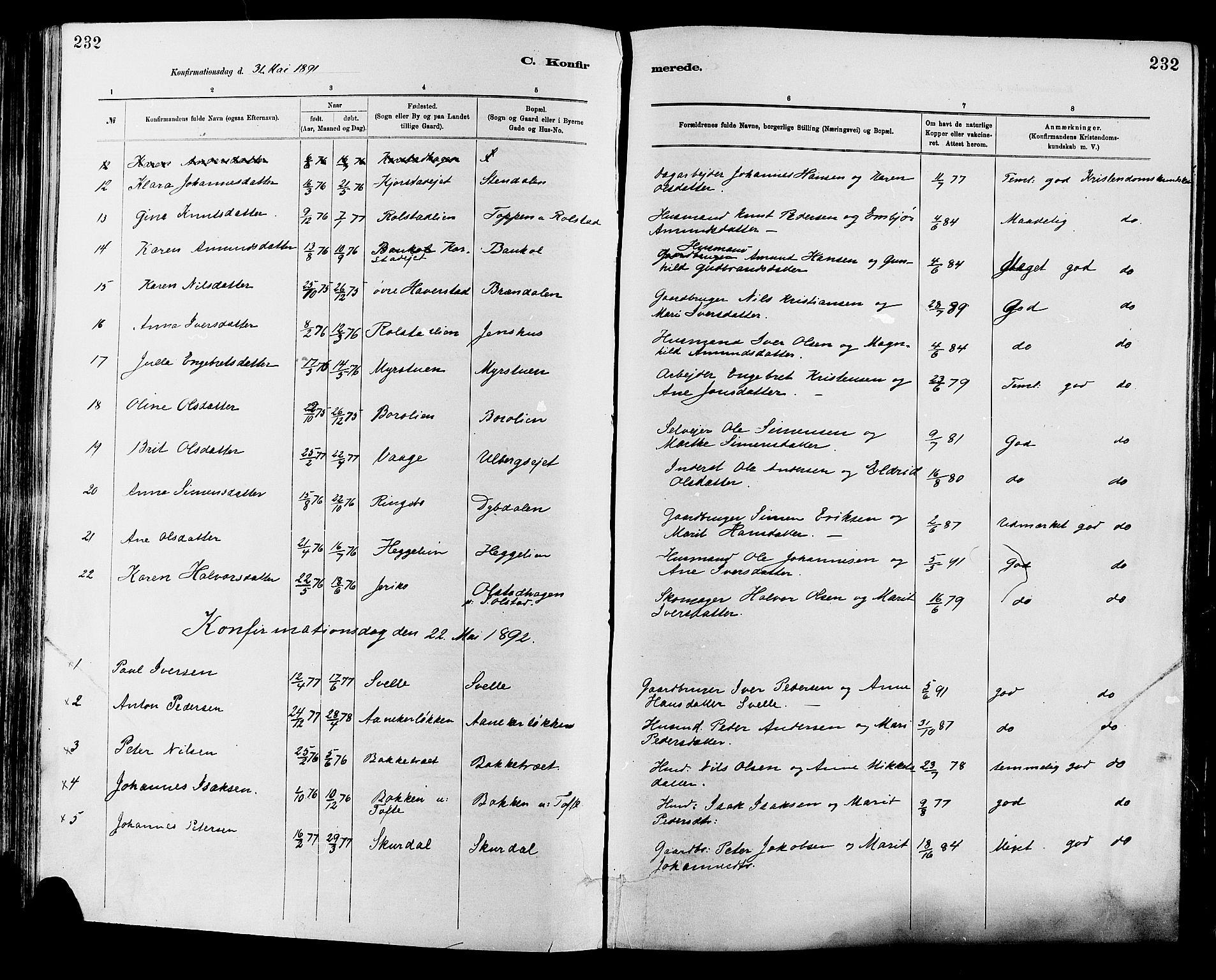 SAH, Sør-Fron prestekontor, H/Ha/Haa/L0003: Ministerialbok nr. 3, 1881-1897, s. 232