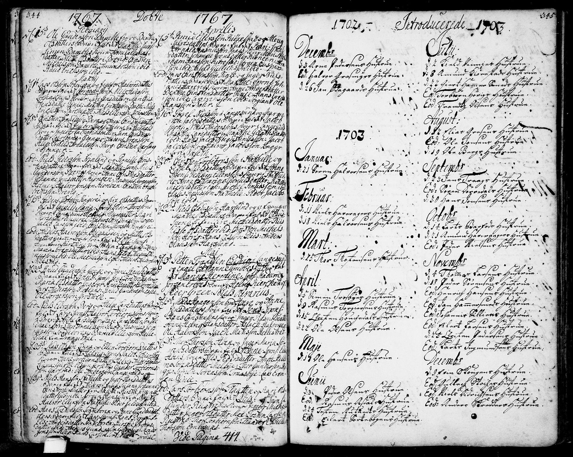 SAKO, Bamble kirkebøker, F/Fa/L0001: Ministerialbok nr. I 1, 1702-1774, s. 344-345