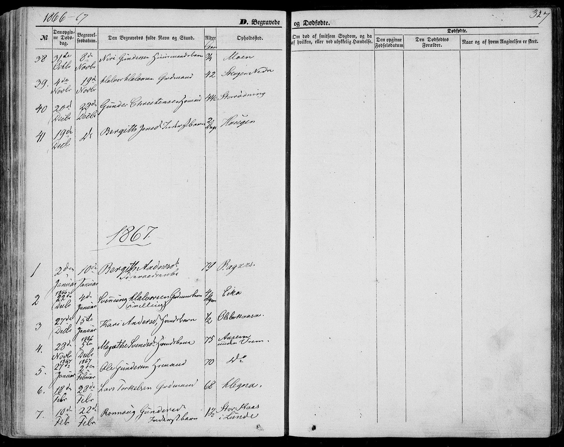 SAKO, Bø kirkebøker, F/Fa/L0009: Ministerialbok nr. 9, 1862-1879, s. 327