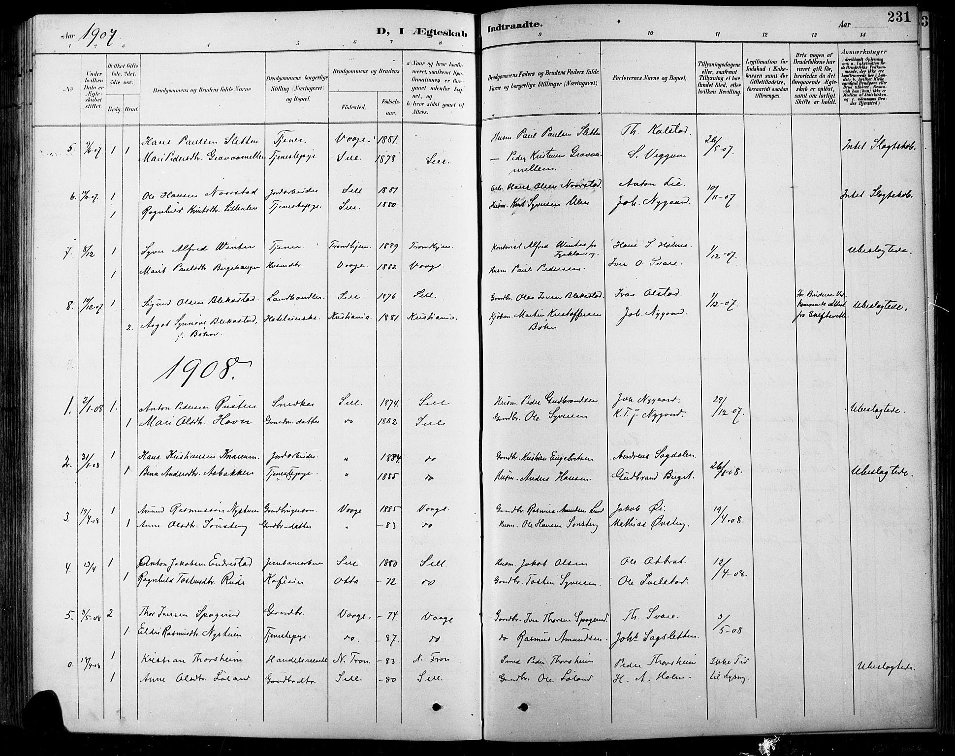 SAH, Sel prestekontor, Klokkerbok nr. 1, 1894-1923, s. 231