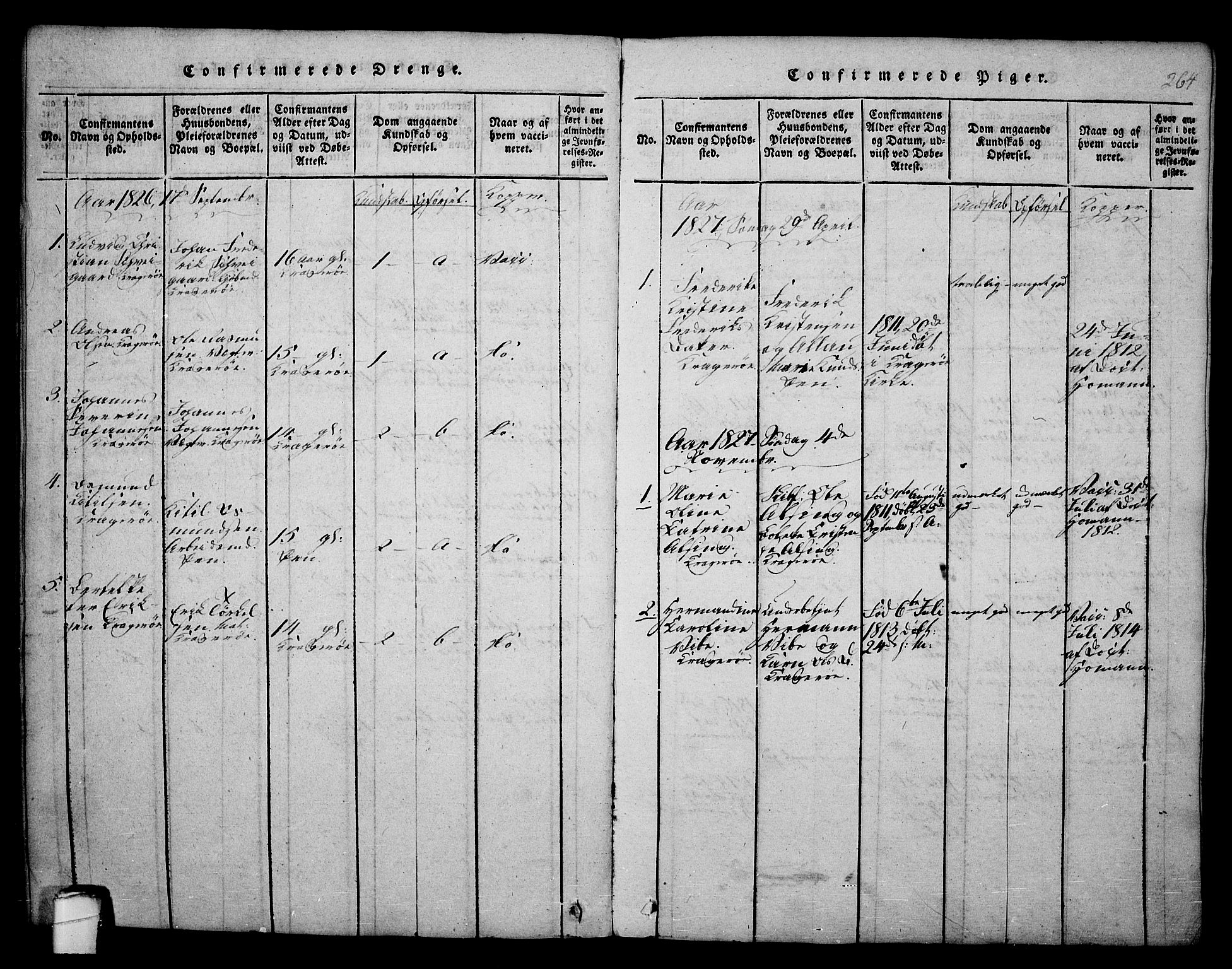 SAKO, Kragerø kirkebøker, F/Fa/L0004: Ministerialbok nr. 4, 1814-1831, s. 264
