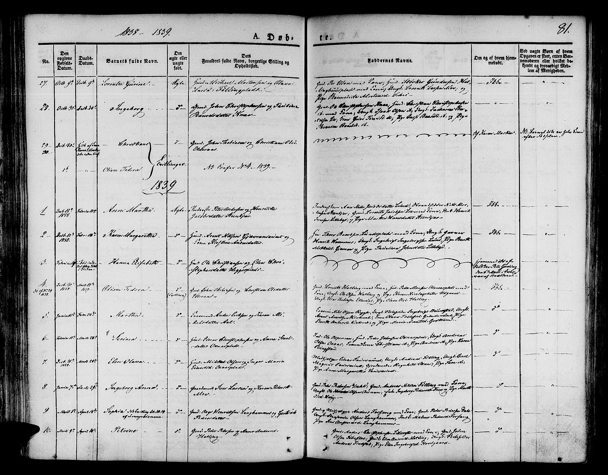 SAT, Ministerialprotokoller, klokkerbøker og fødselsregistre - Nord-Trøndelag, 746/L0445: Ministerialbok nr. 746A04, 1826-1846, s. 81