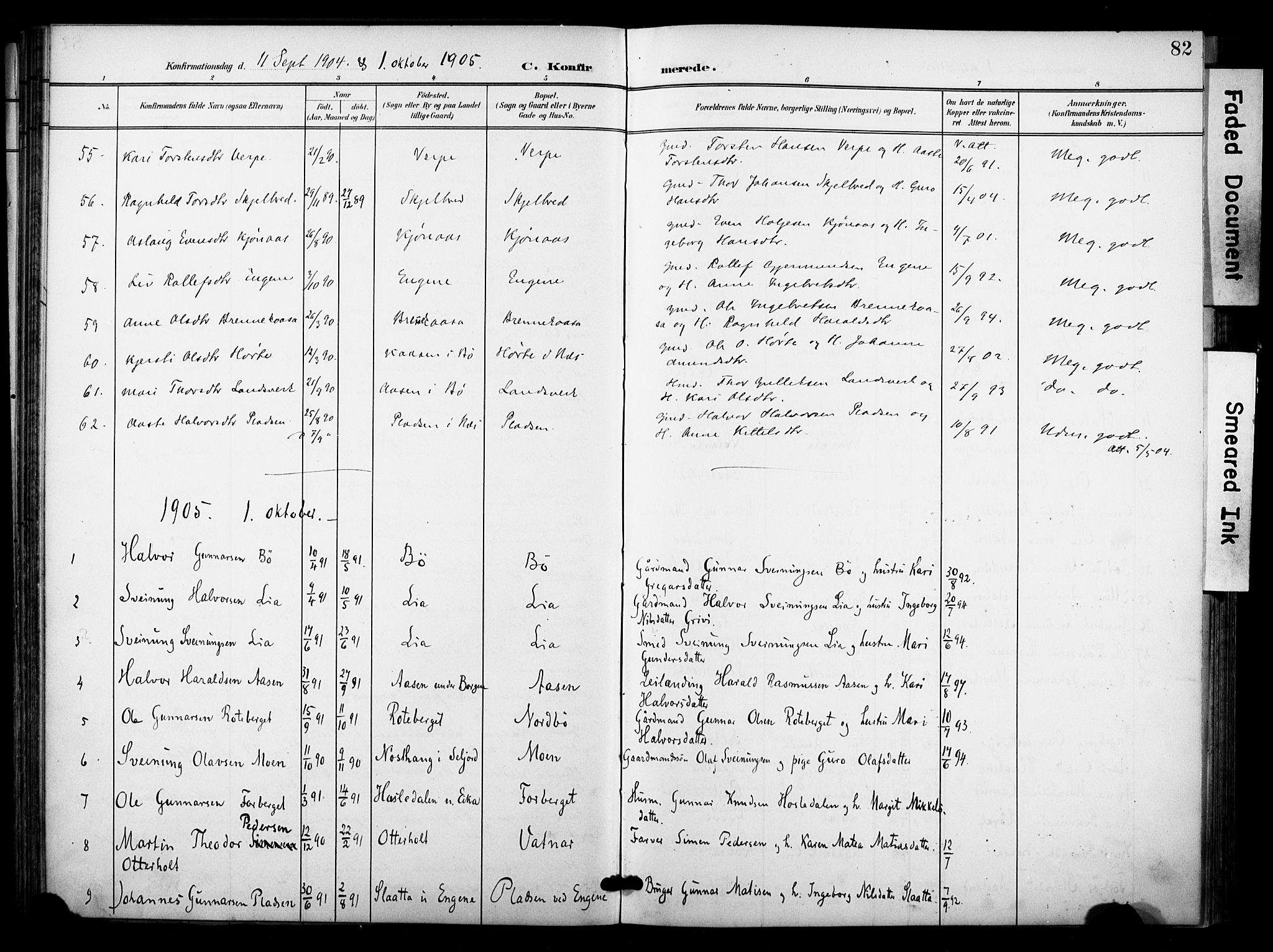 SAKO, Bø kirkebøker, F/Fa/L0012: Ministerialbok nr. 12, 1900-1908, s. 82