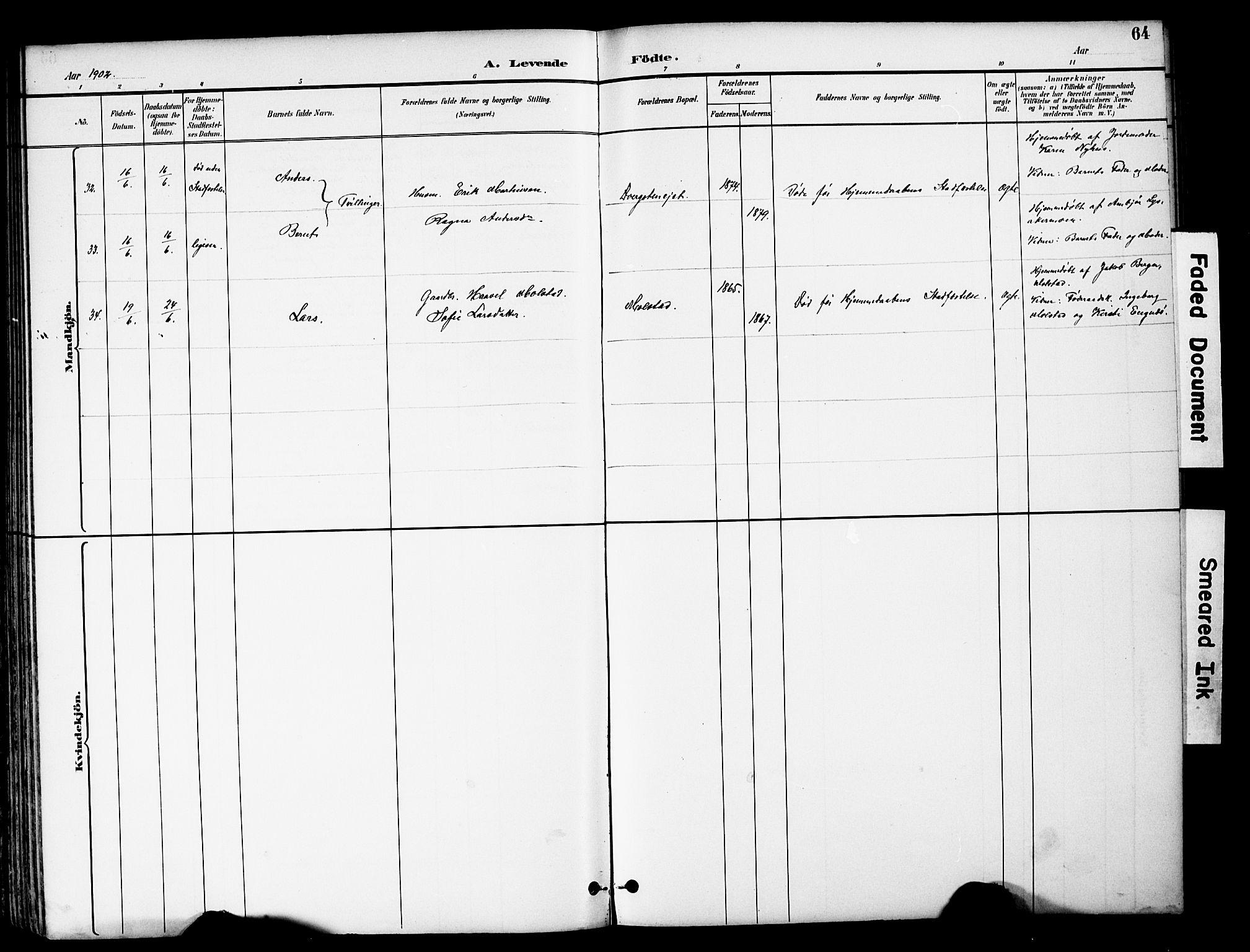 SAH, Brandbu prestekontor, Klokkerbok nr. 6, 1893-1902, s. 64
