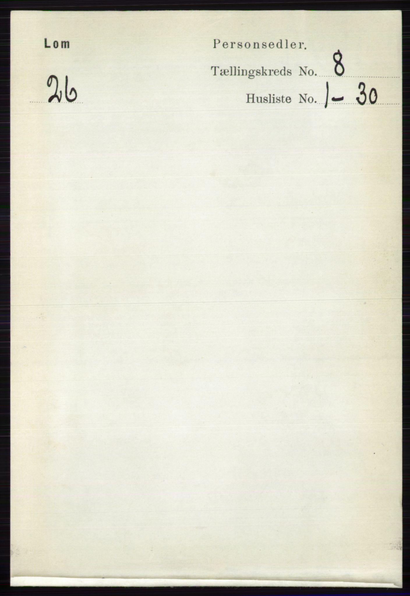 RA, Folketelling 1891 for 0514 Lom herred, 1891, s. 3105