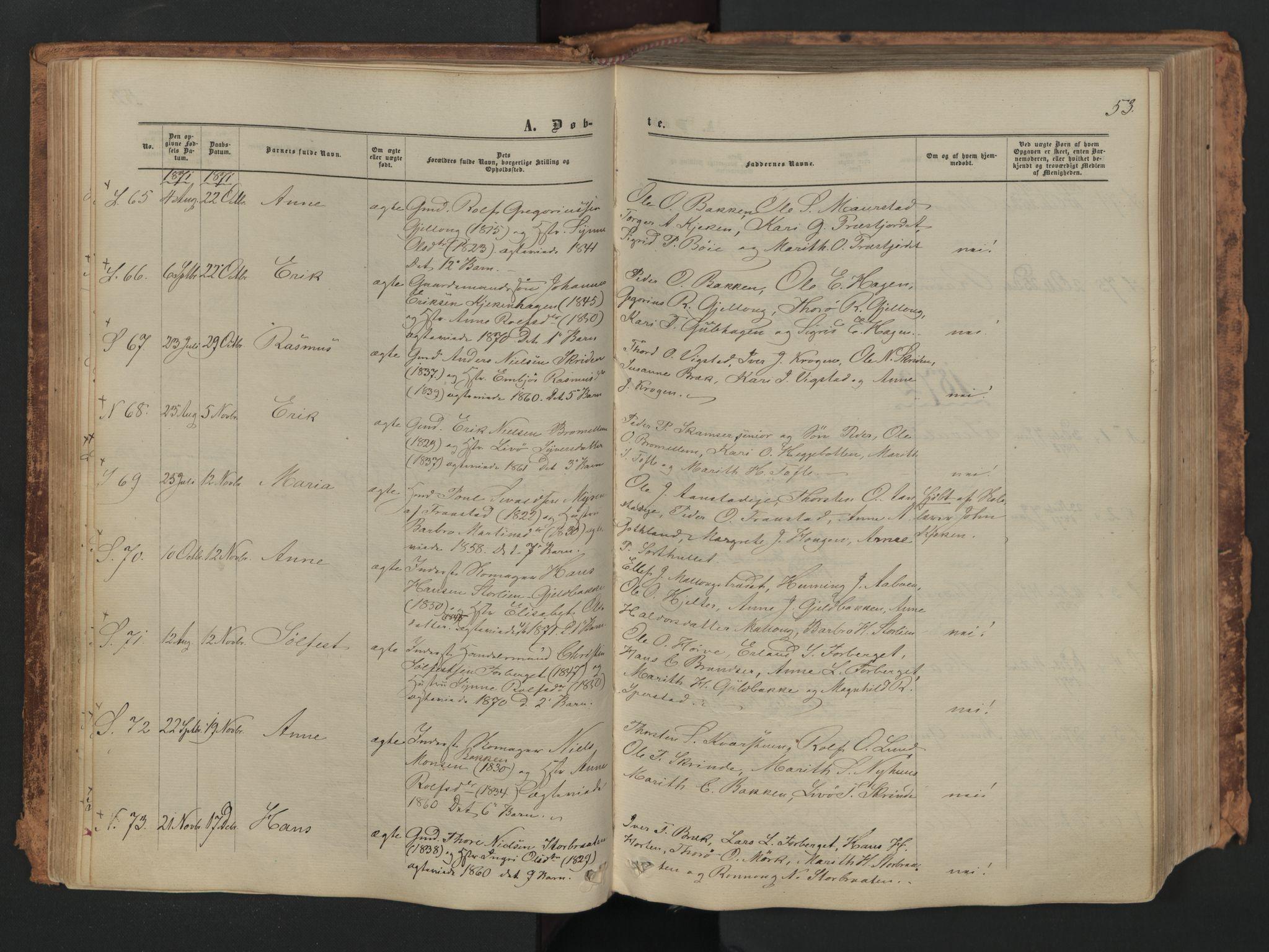 SAH, Skjåk prestekontor, Ministerialbok nr. 1, 1863-1879, s. 53