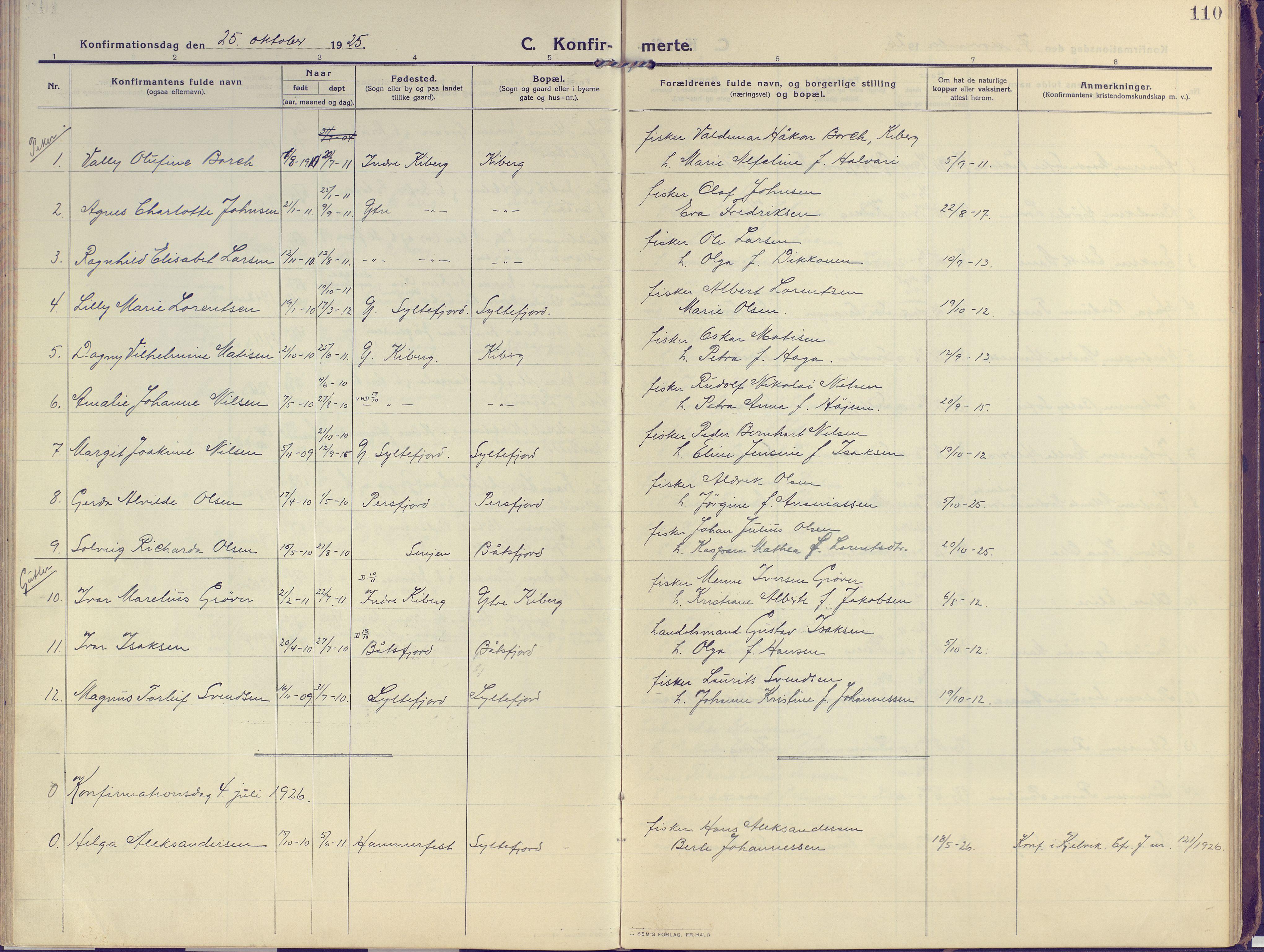 SATØ, Vardø sokneprestkontor, H/Ha/L0013kirke: Ministerialbok nr. 13, 1912-1928, s. 110
