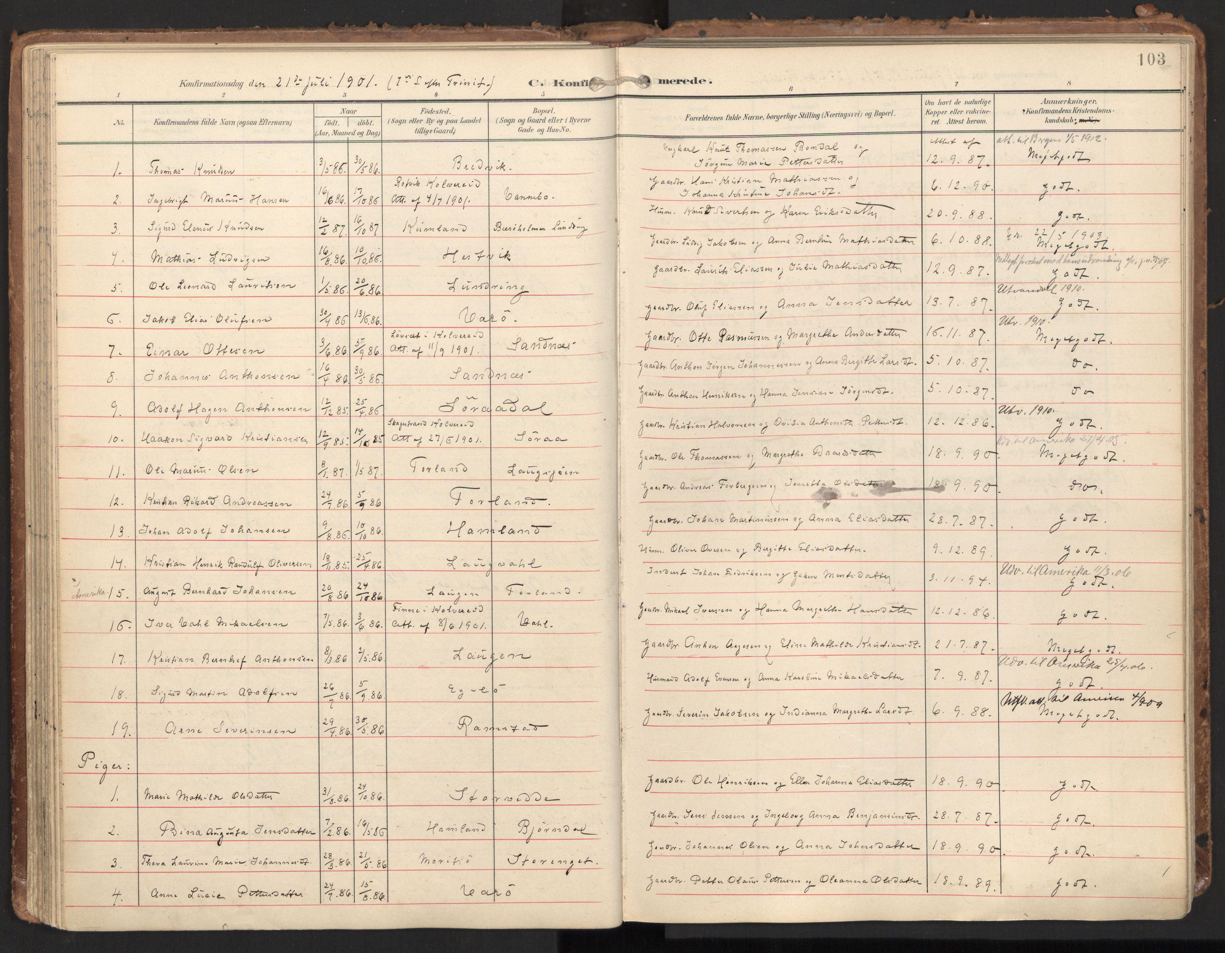 SAT, Ministerialprotokoller, klokkerbøker og fødselsregistre - Nord-Trøndelag, 784/L0677: Ministerialbok nr. 784A12, 1900-1920, s. 103