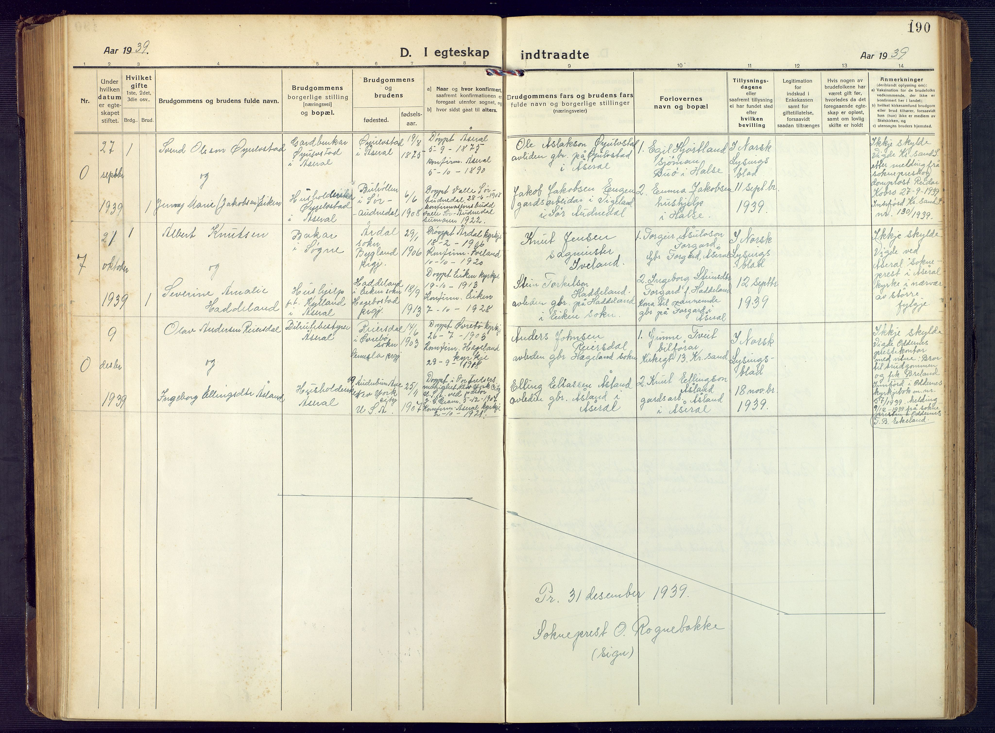 SAK, Åseral sokneprestkontor, F/Fb/L0004: Klokkerbok nr. B 4, 1920-1946, s. 190