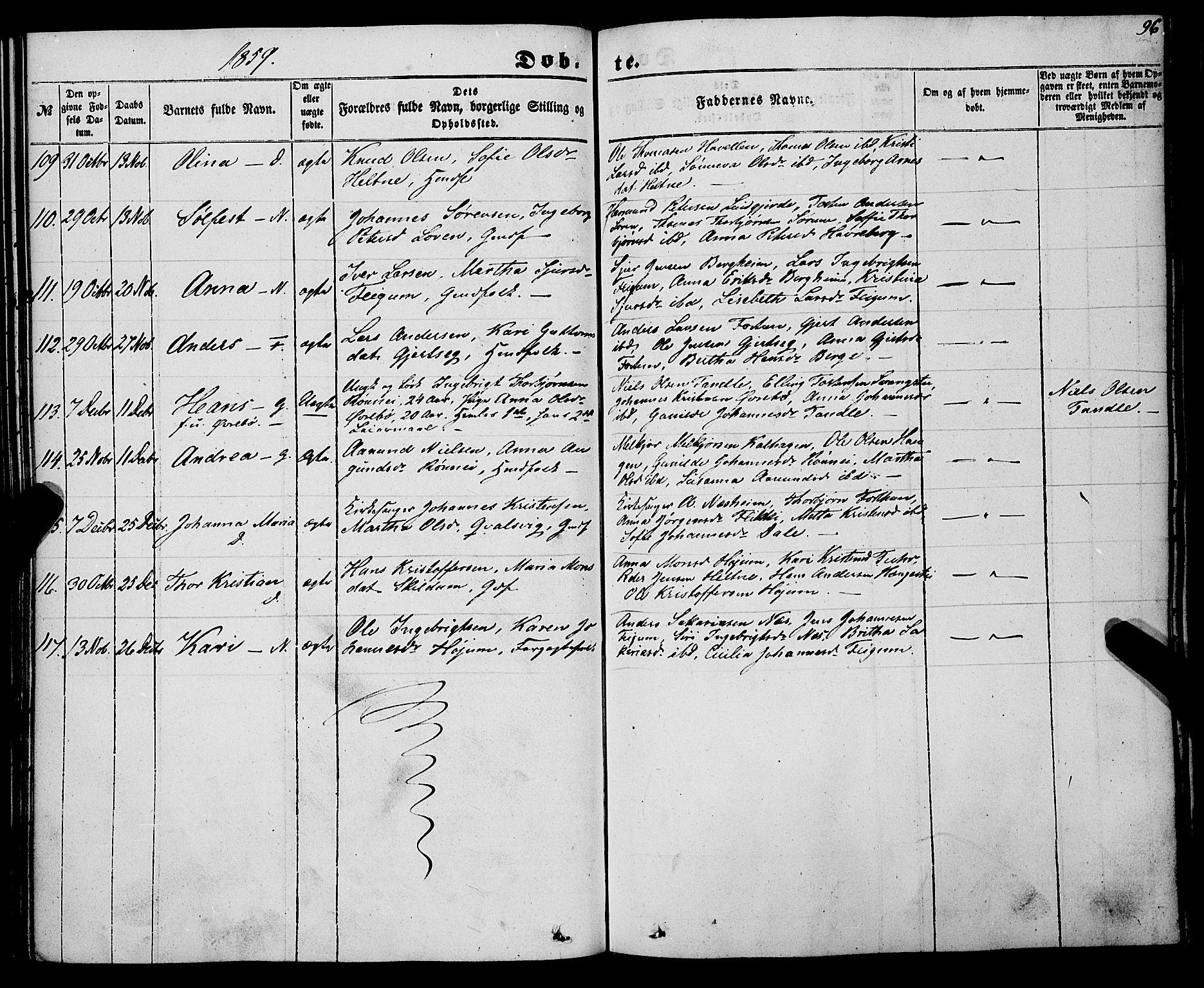 SAB, Luster Sokneprestembete, Ministerialbok nr. A 7, 1849-1859, s. 96