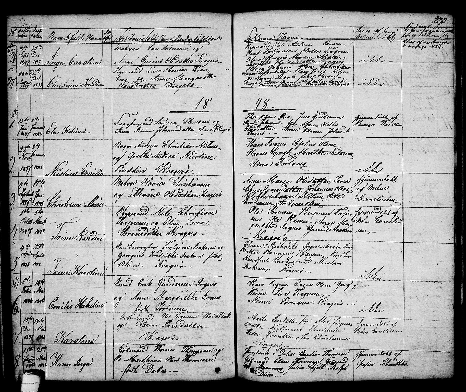 SAKO, Kragerø kirkebøker, G/Ga/L0003: Klokkerbok nr. 3, 1832-1852, s. 232