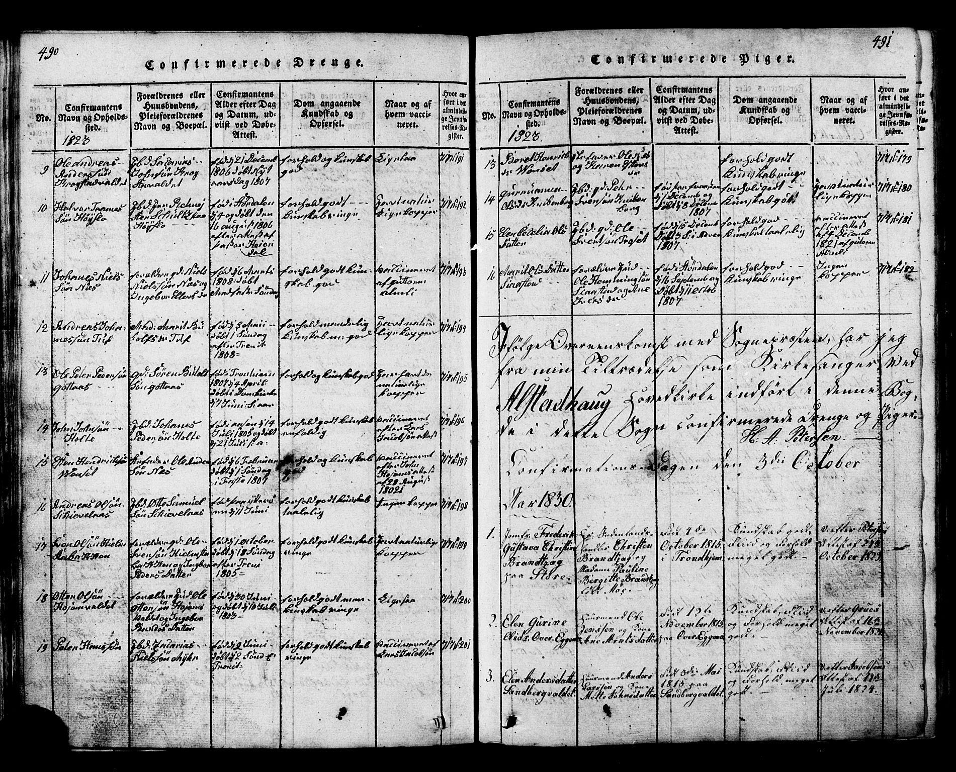 SAT, Ministerialprotokoller, klokkerbøker og fødselsregistre - Nord-Trøndelag, 717/L0169: Klokkerbok nr. 717C01, 1816-1834, s. 490-491